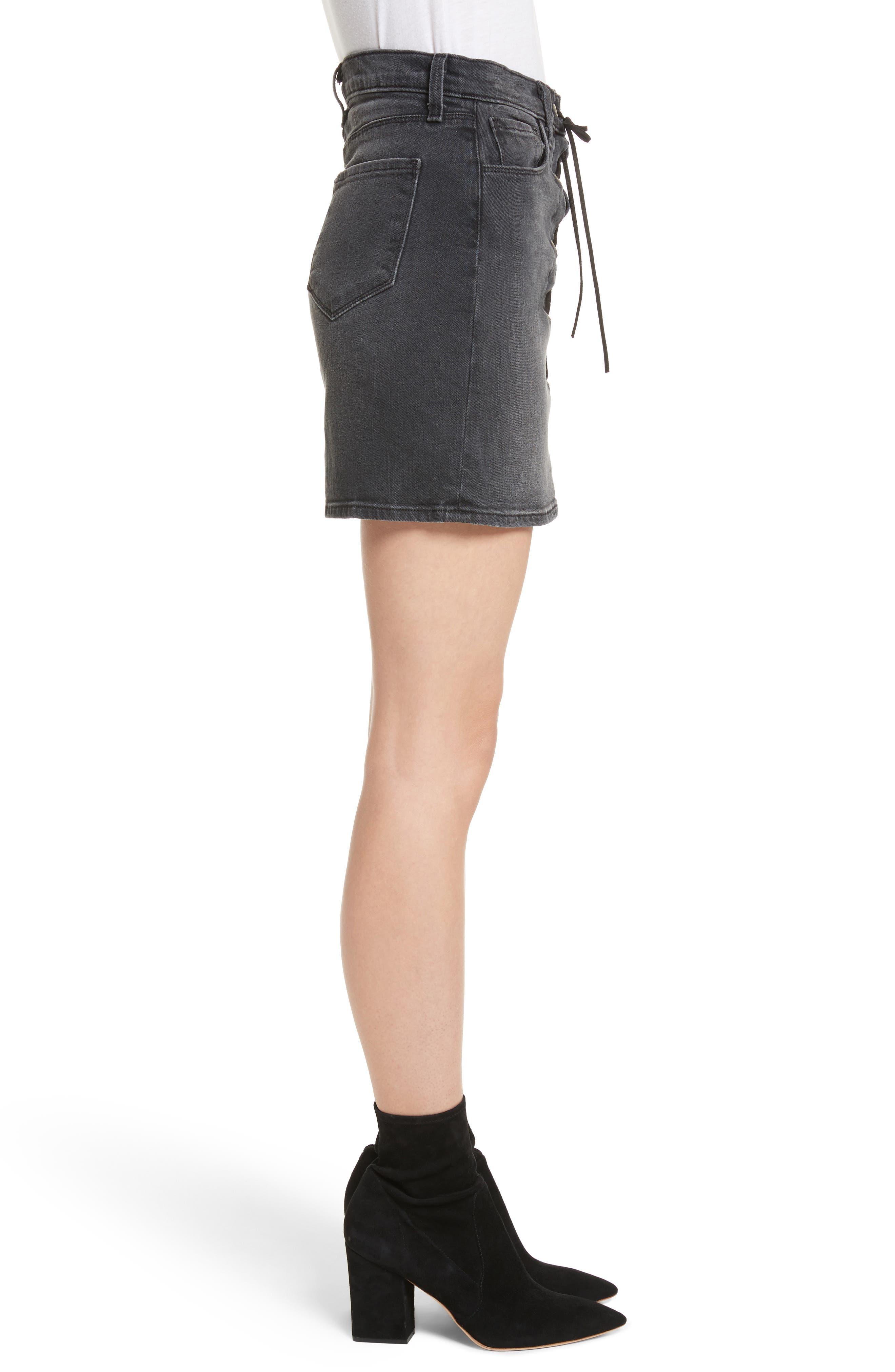 Portia Lace Up Denim Skirt,                             Alternate thumbnail 3, color,                             006