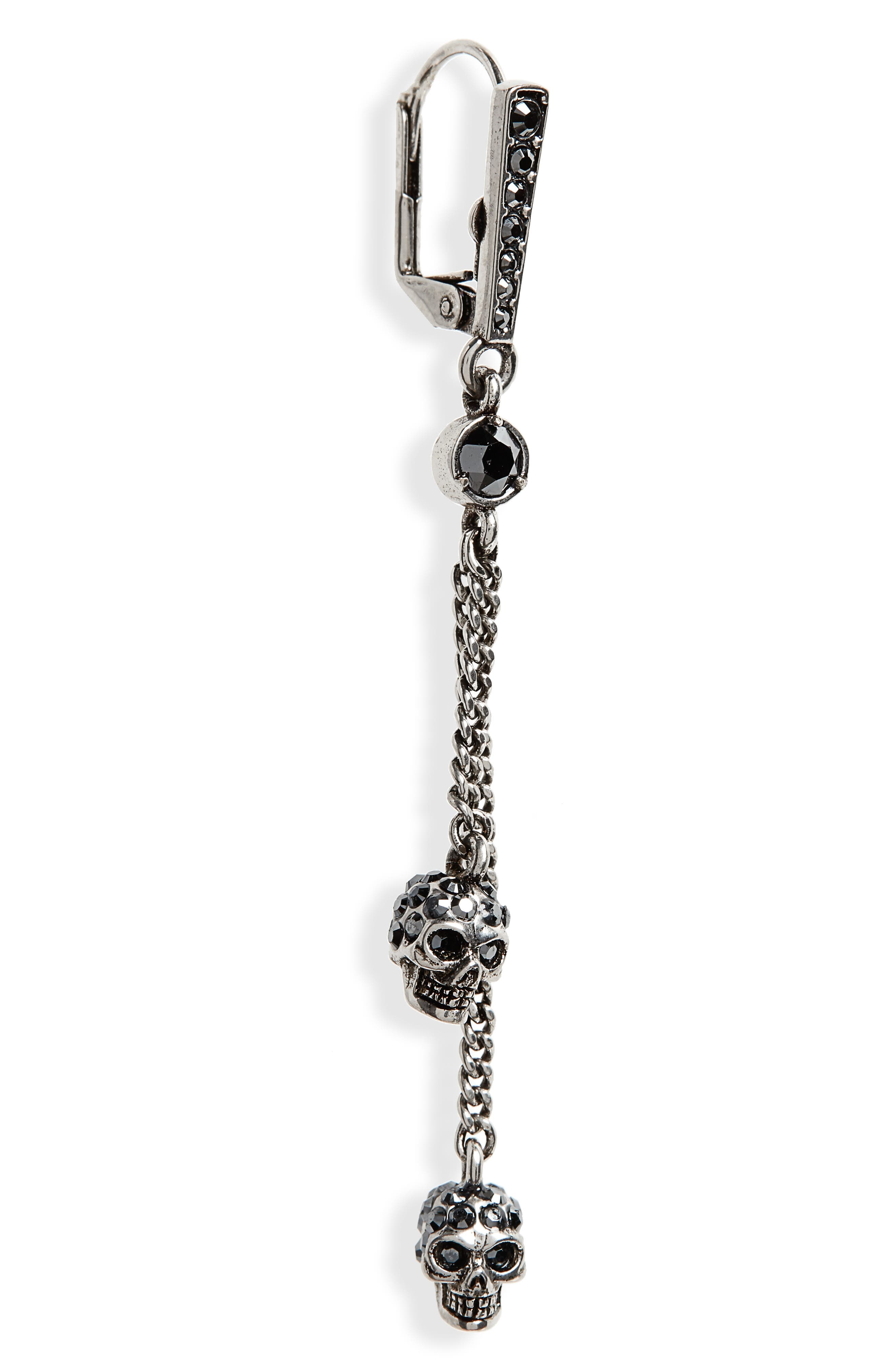 ALEXANDER MCQUEEN,                             Thin Chain Earrings,                             Alternate thumbnail 5, color,                             HEMATITE