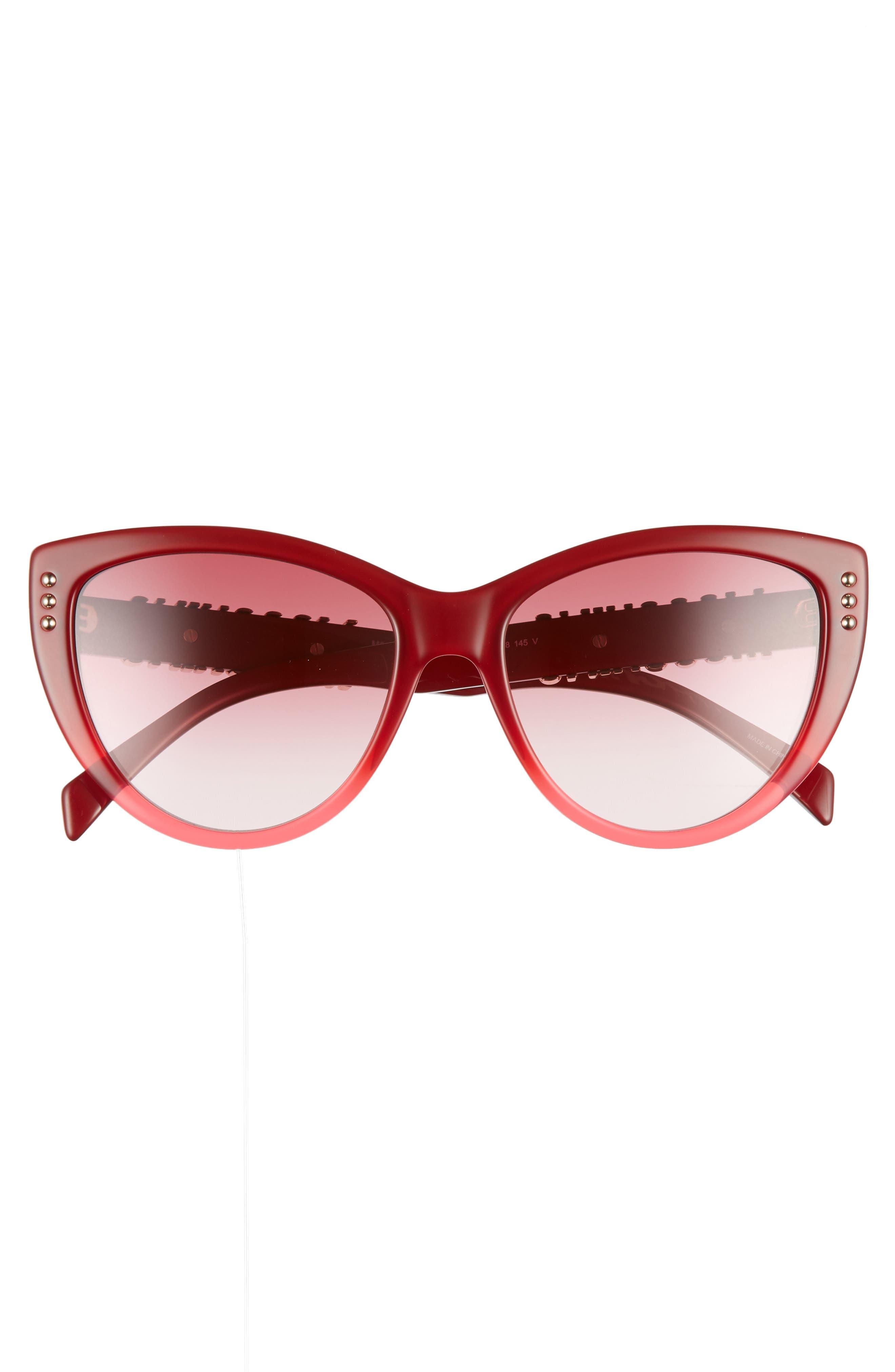 56mm Gradient Cat Eye Sunglasses,                             Alternate thumbnail 3, color,                             RED