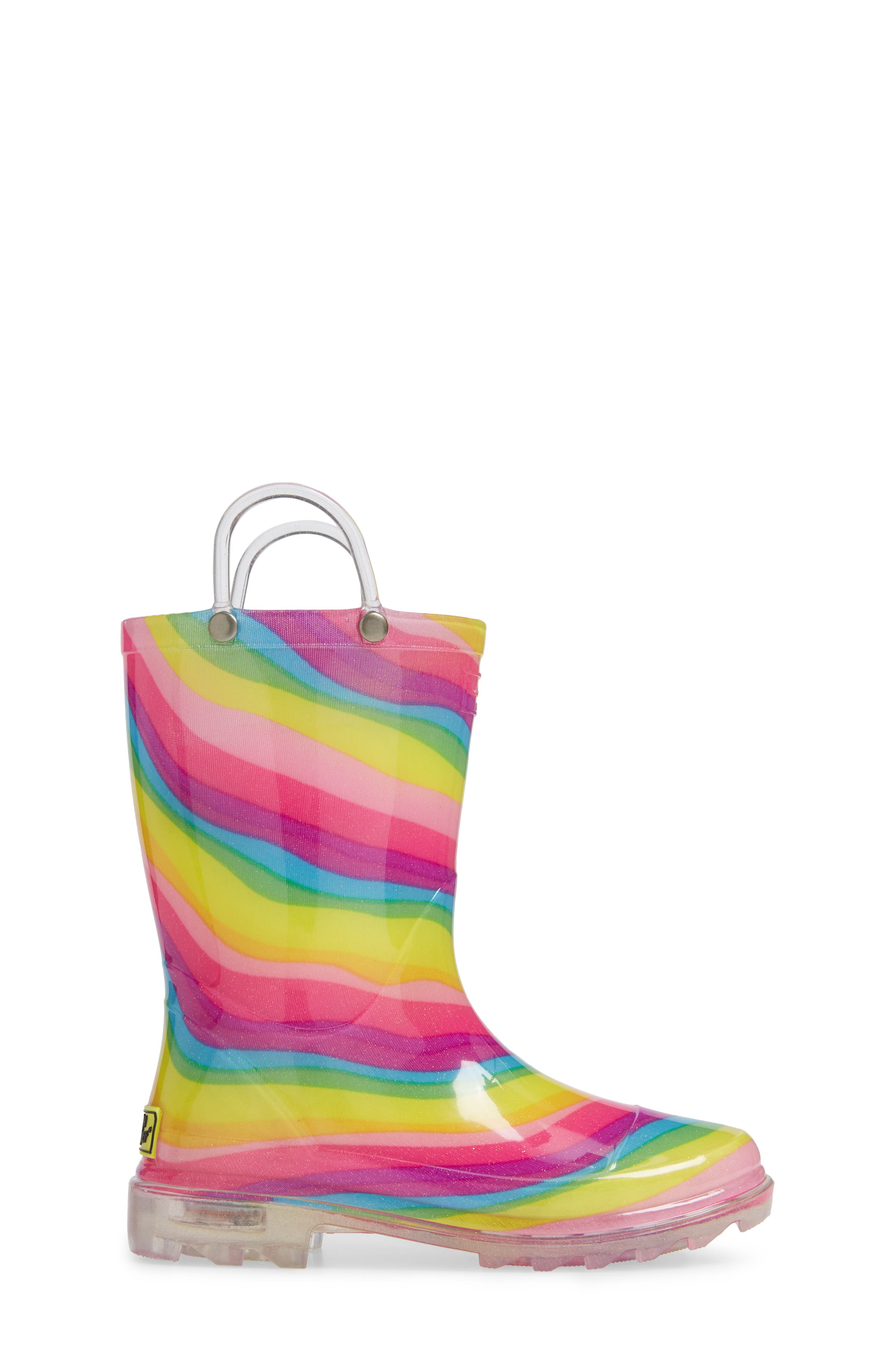 Rainbow Light-Up Waterproof Rain Boot,                             Alternate thumbnail 3, color,                             MULTI