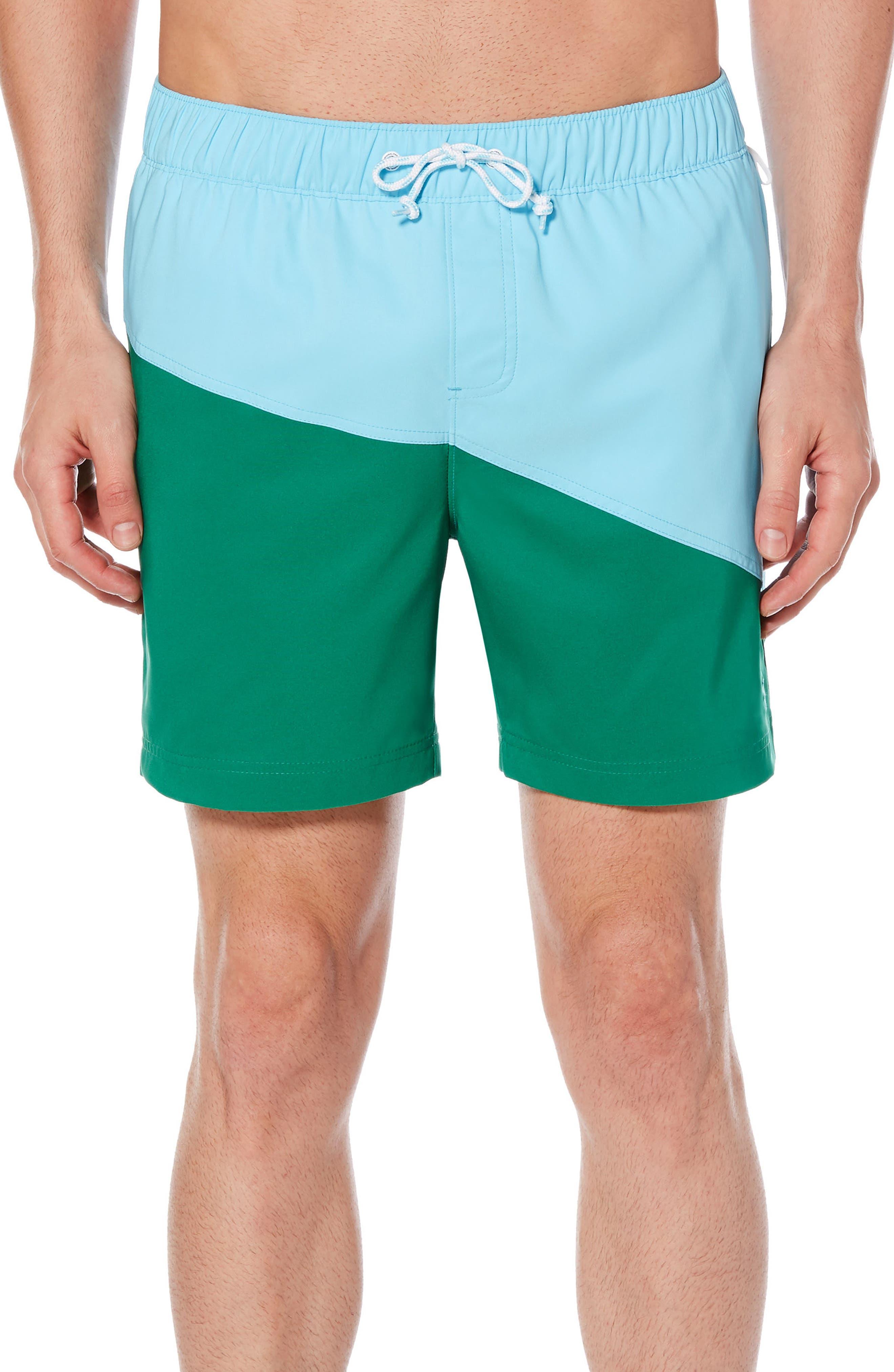 ORIGINAL PENGUIN Colorblock Swim Trunks, Main, color, 407