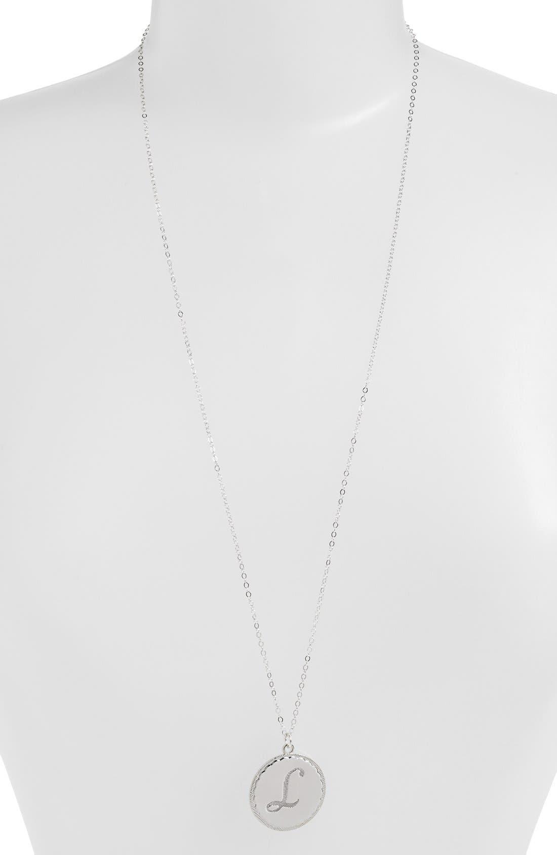 'Dalton' Long Initial Pendant Necklace,                             Main thumbnail 1, color,                             SILVER- L