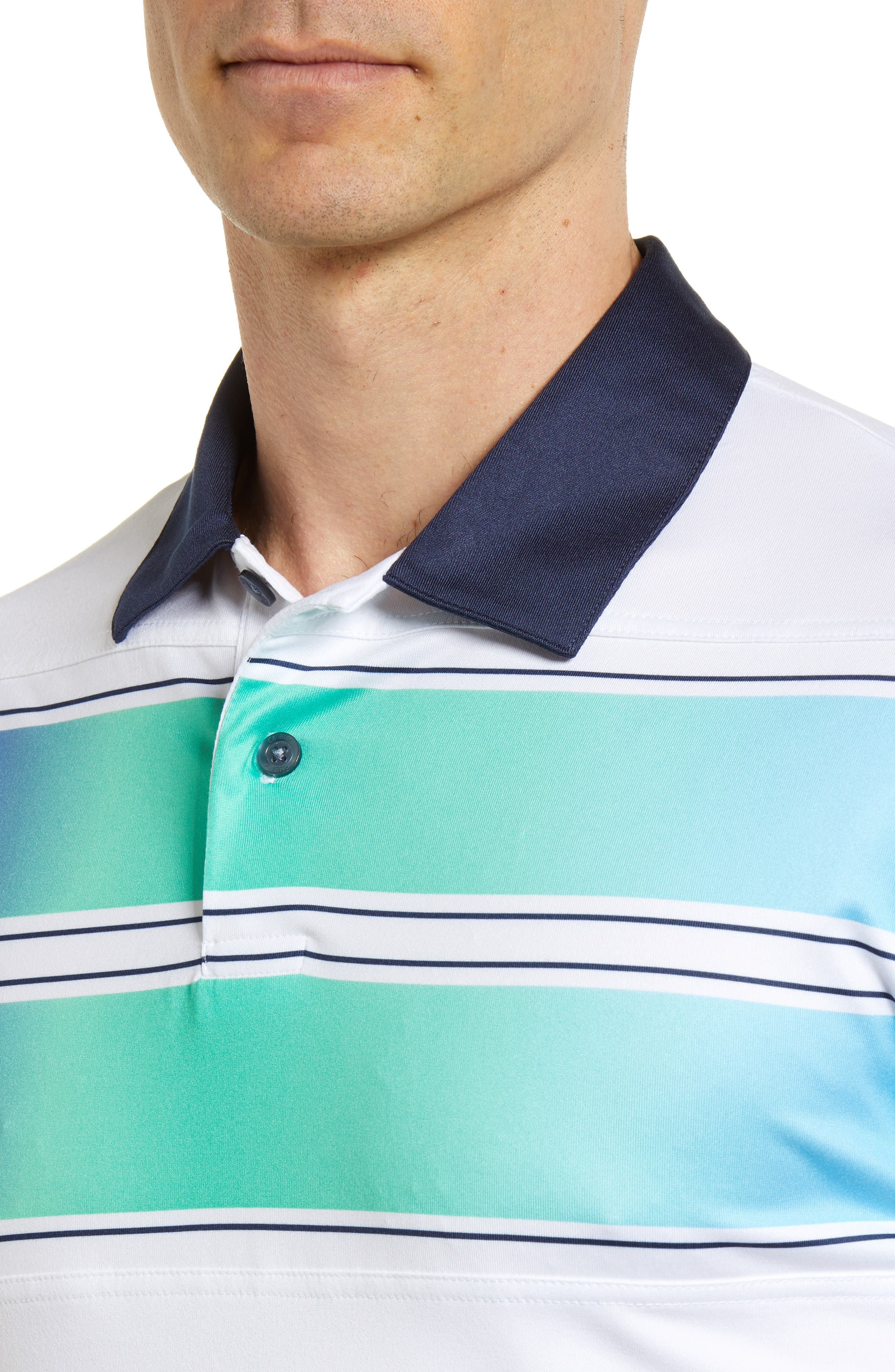 Slim Fit Double Chest Polo,                             Alternate thumbnail 4, color,                             BRIGHT WHITE