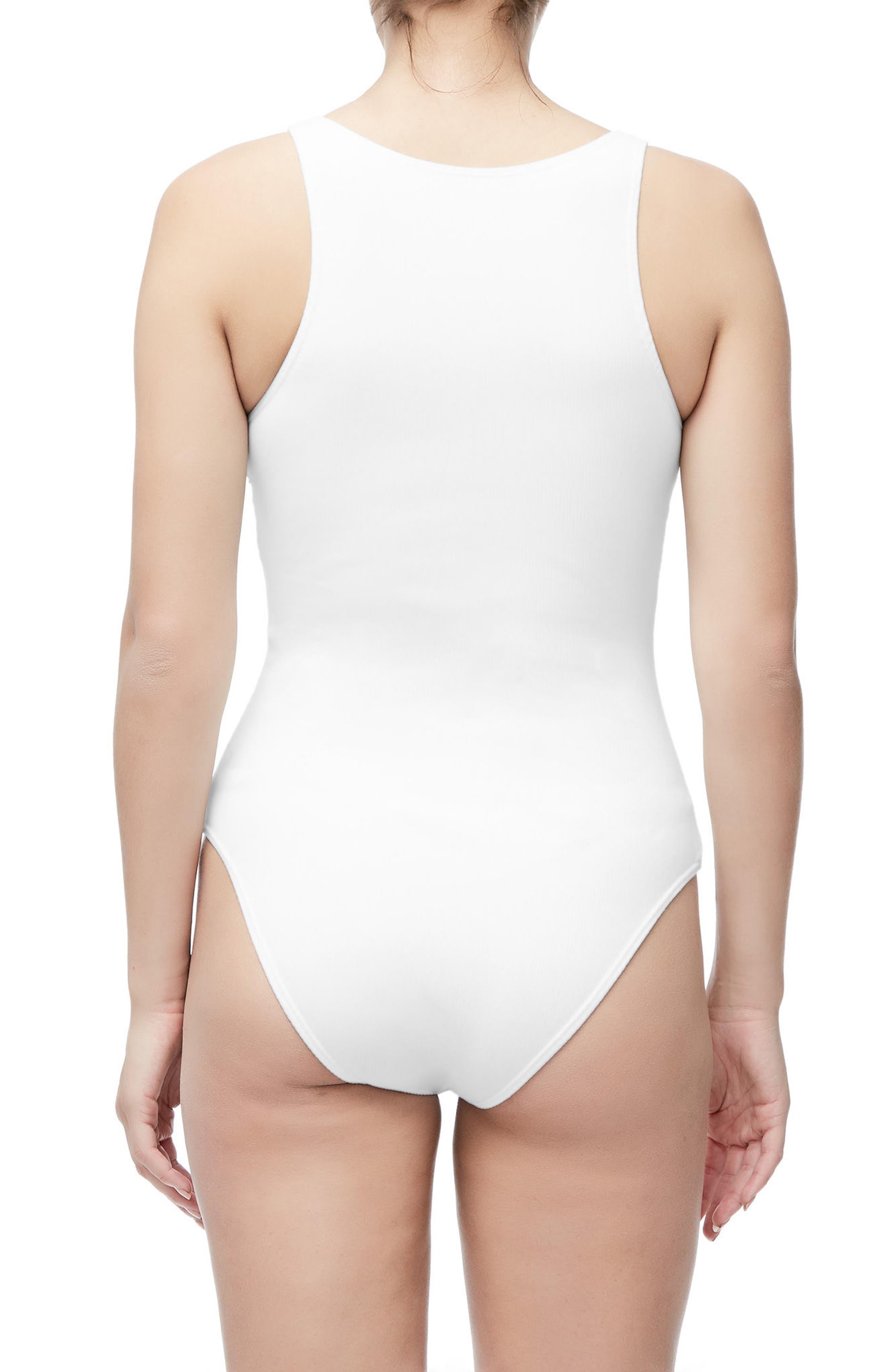 Good Body Snap Front Bodysuit,                             Alternate thumbnail 2, color,                             WHITE