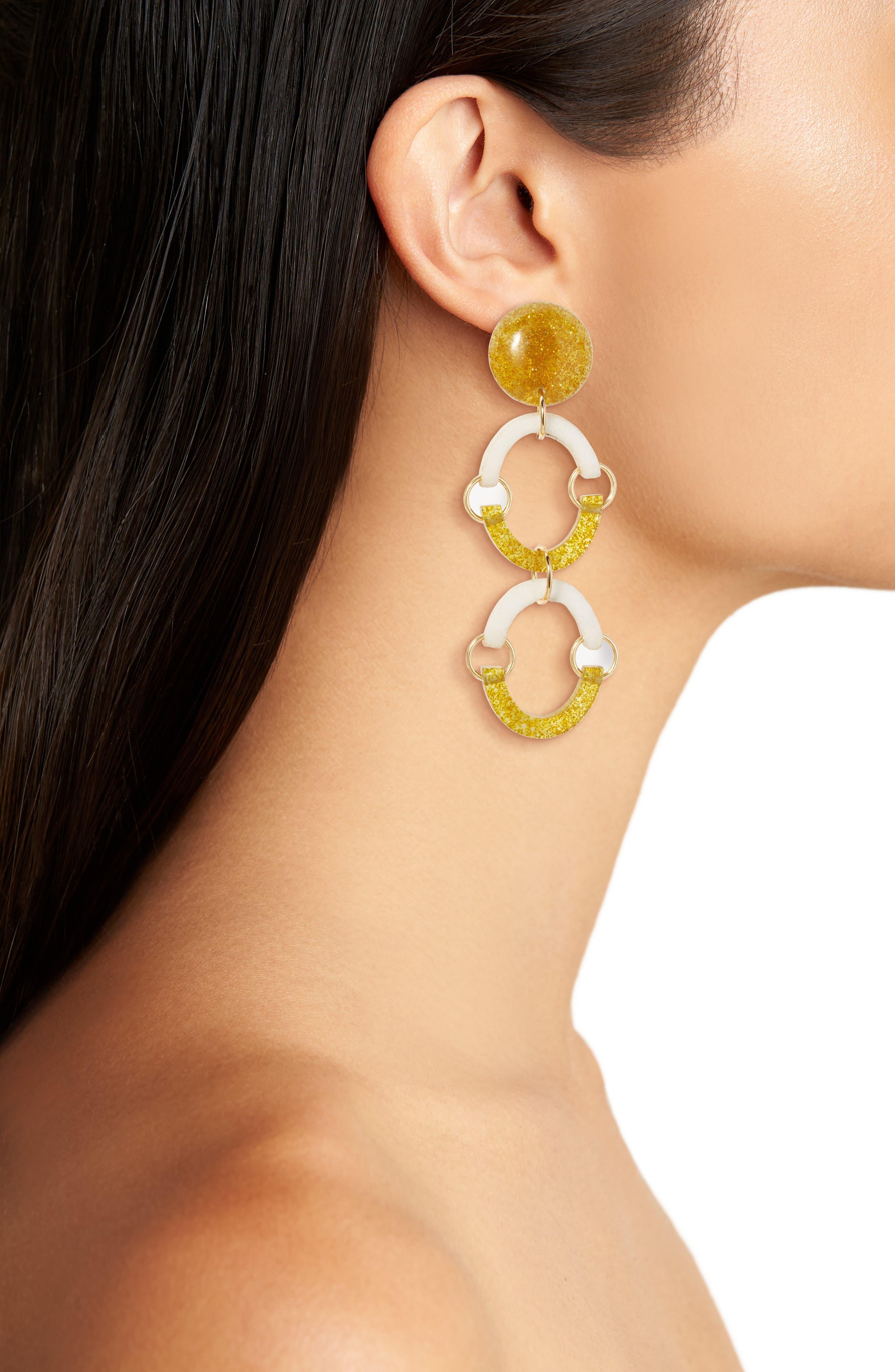 Confetti Rainbow Arch Clip Drop Earrings,                             Alternate thumbnail 2, color,                             100