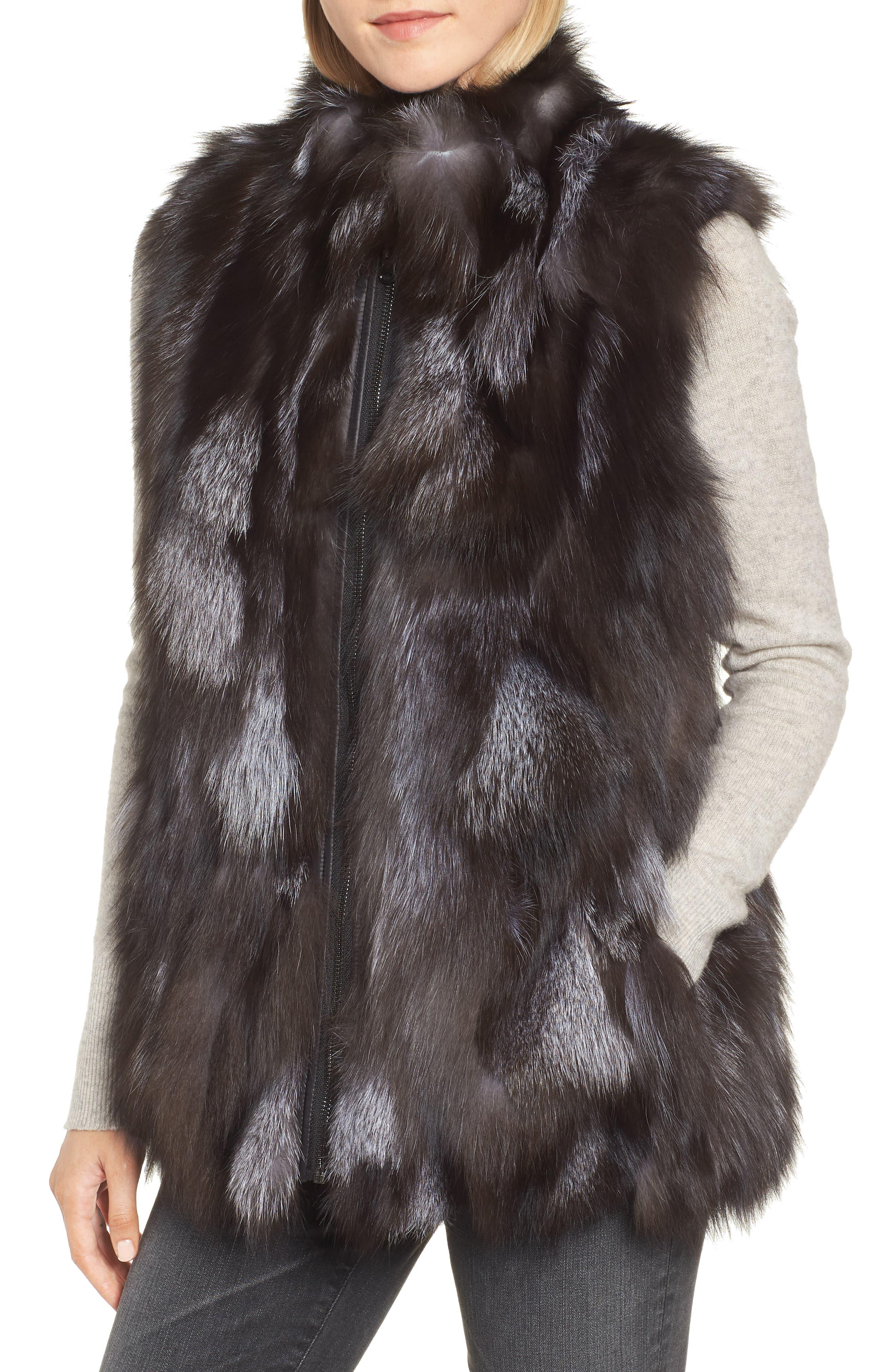 LINDA RICHARDS,                             Reversible Genuine Silver Fox Fur Vest,                             Alternate thumbnail 2, color,                             BLACK/ SILVER