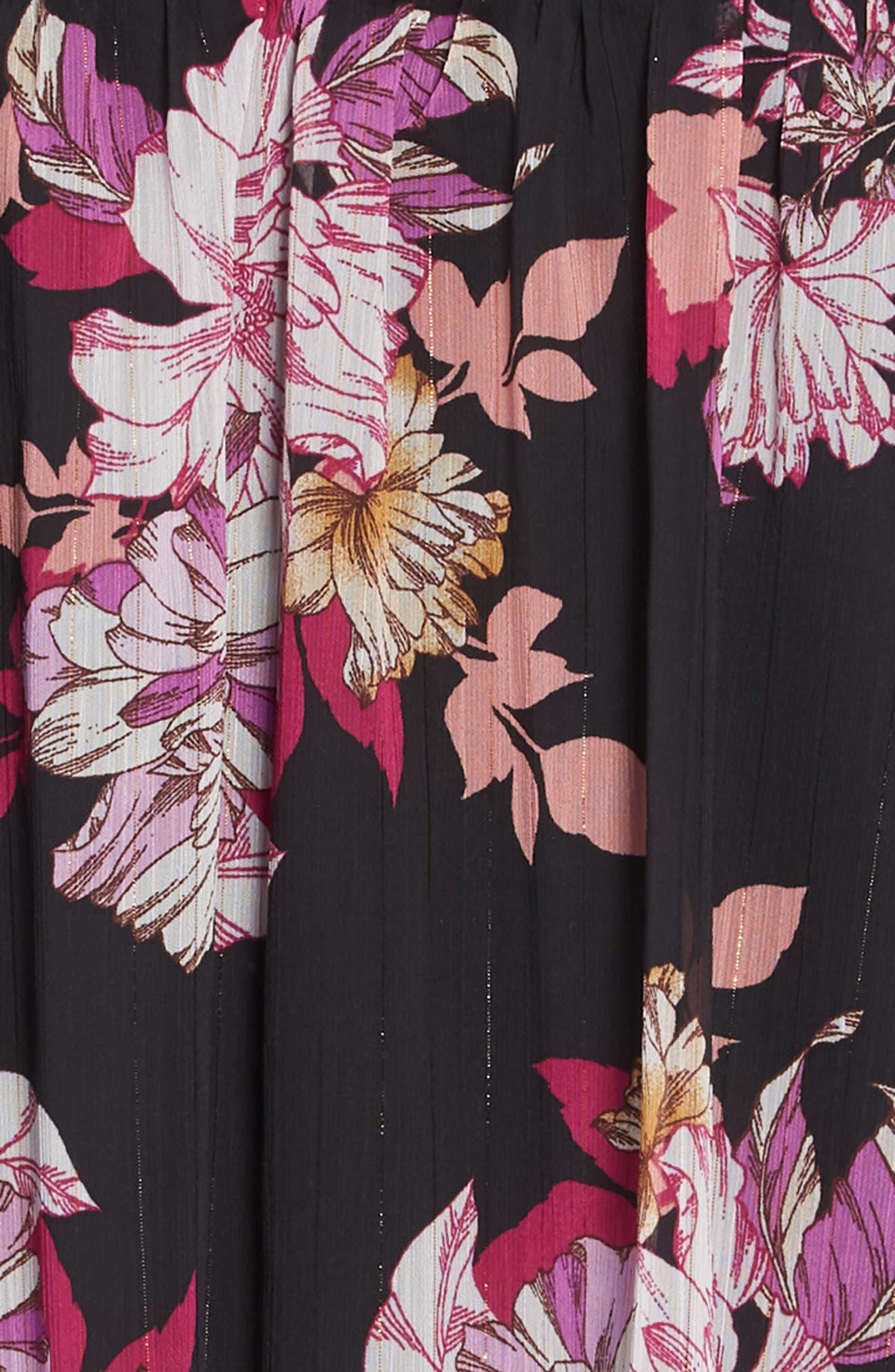Floral Print Handkerchief Hem Dress,                             Alternate thumbnail 3, color,                             BLACK