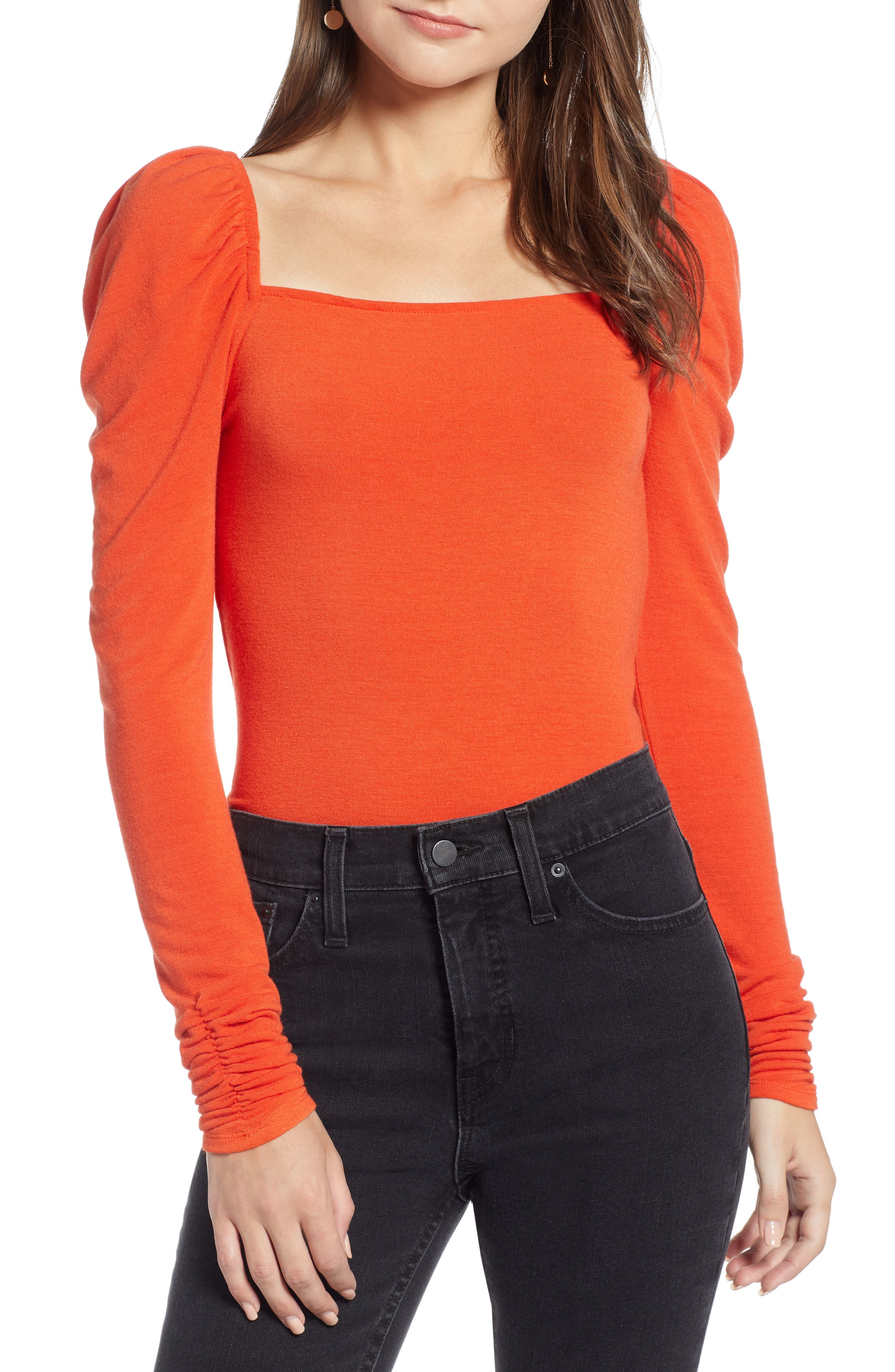 Square Neck Slim Knit Top,                             Main thumbnail 1, color,                             RED POINCIANA