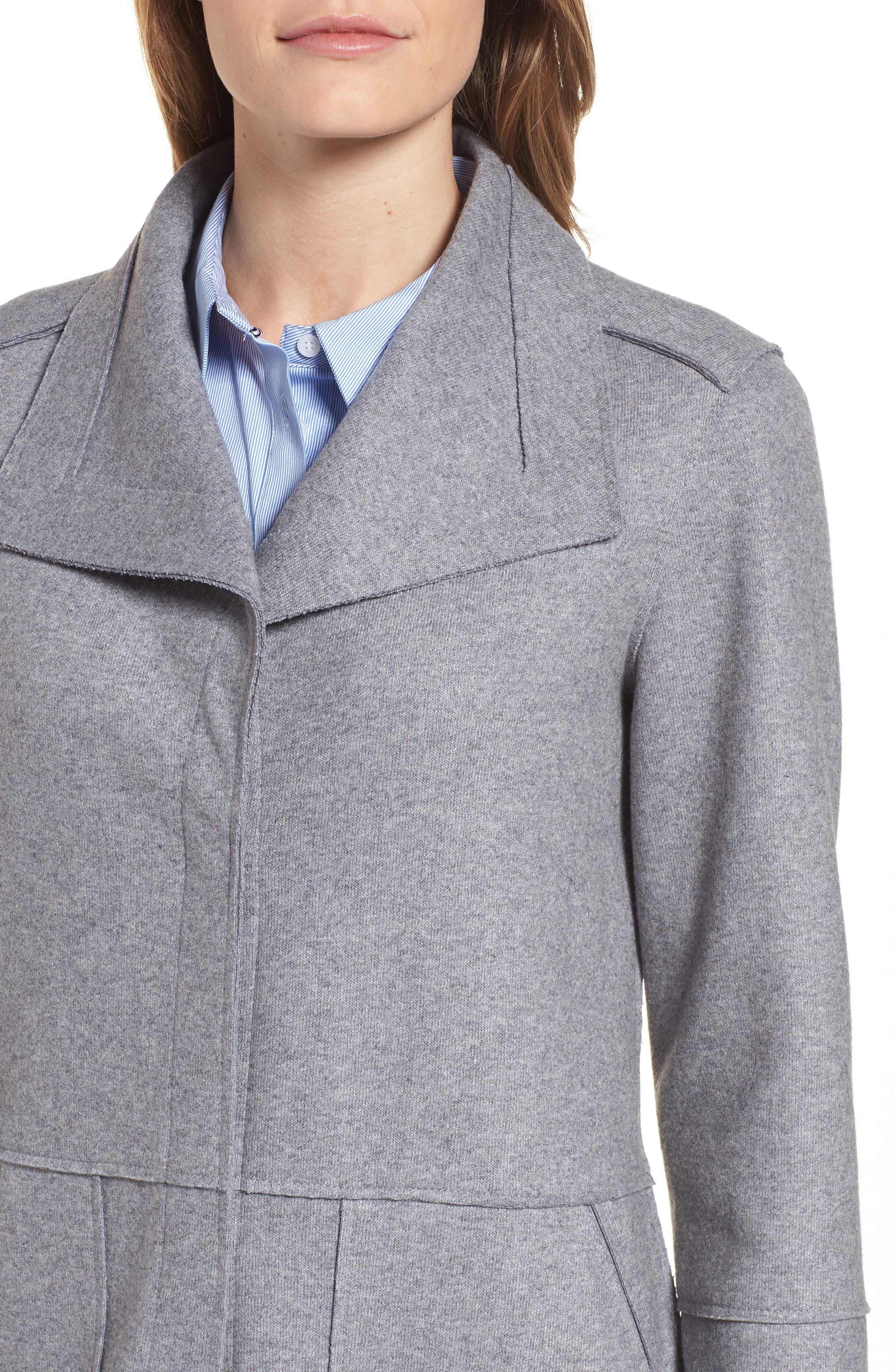 Envelope Collar Wool Blend Knit Coat,                             Alternate thumbnail 4, color,                             LIGHT GREY