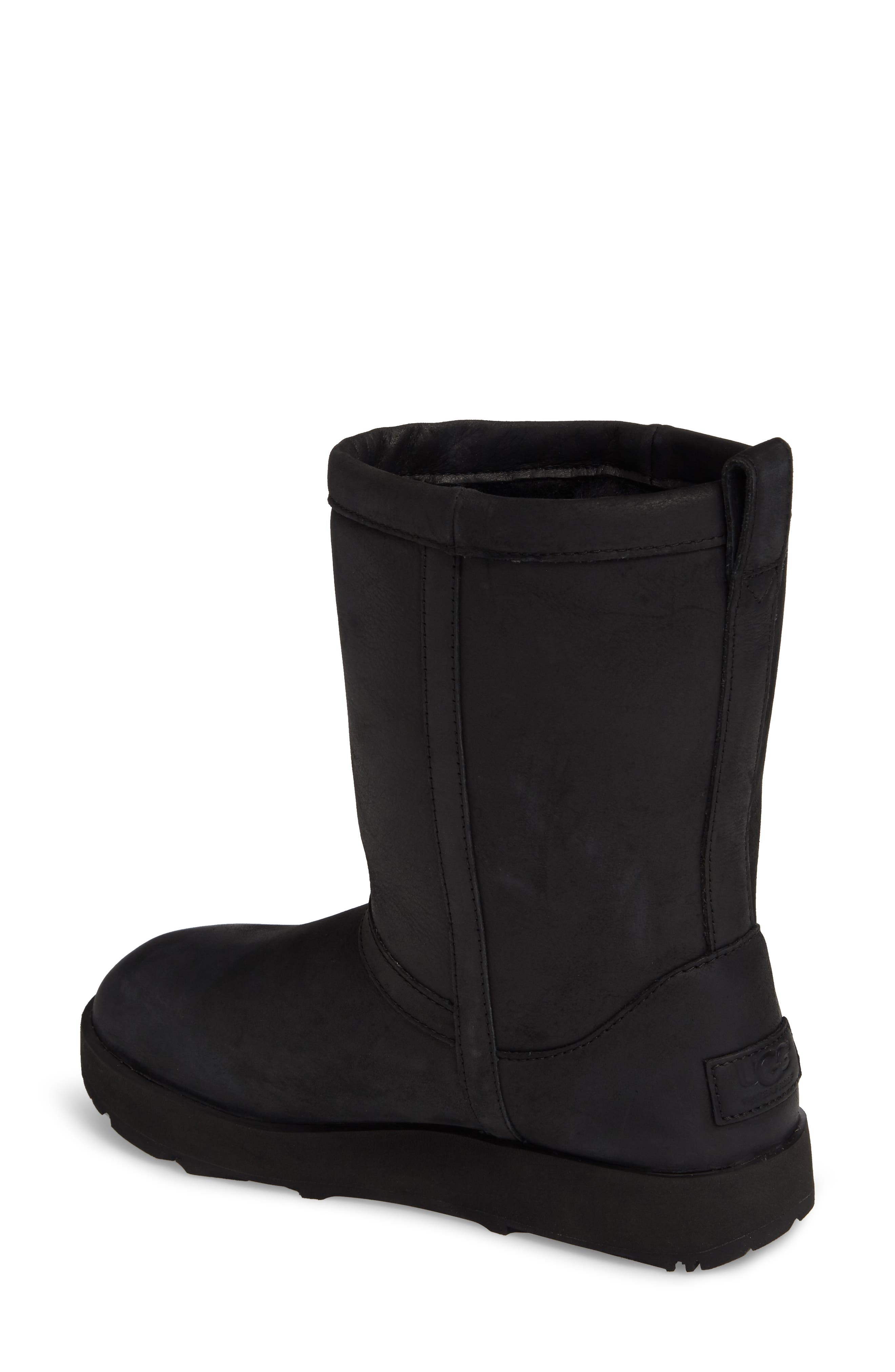 Classic Genuine Shearling Lined Short Waterproof Boot,                             Alternate thumbnail 2, color,                             BLACK LEATHER
