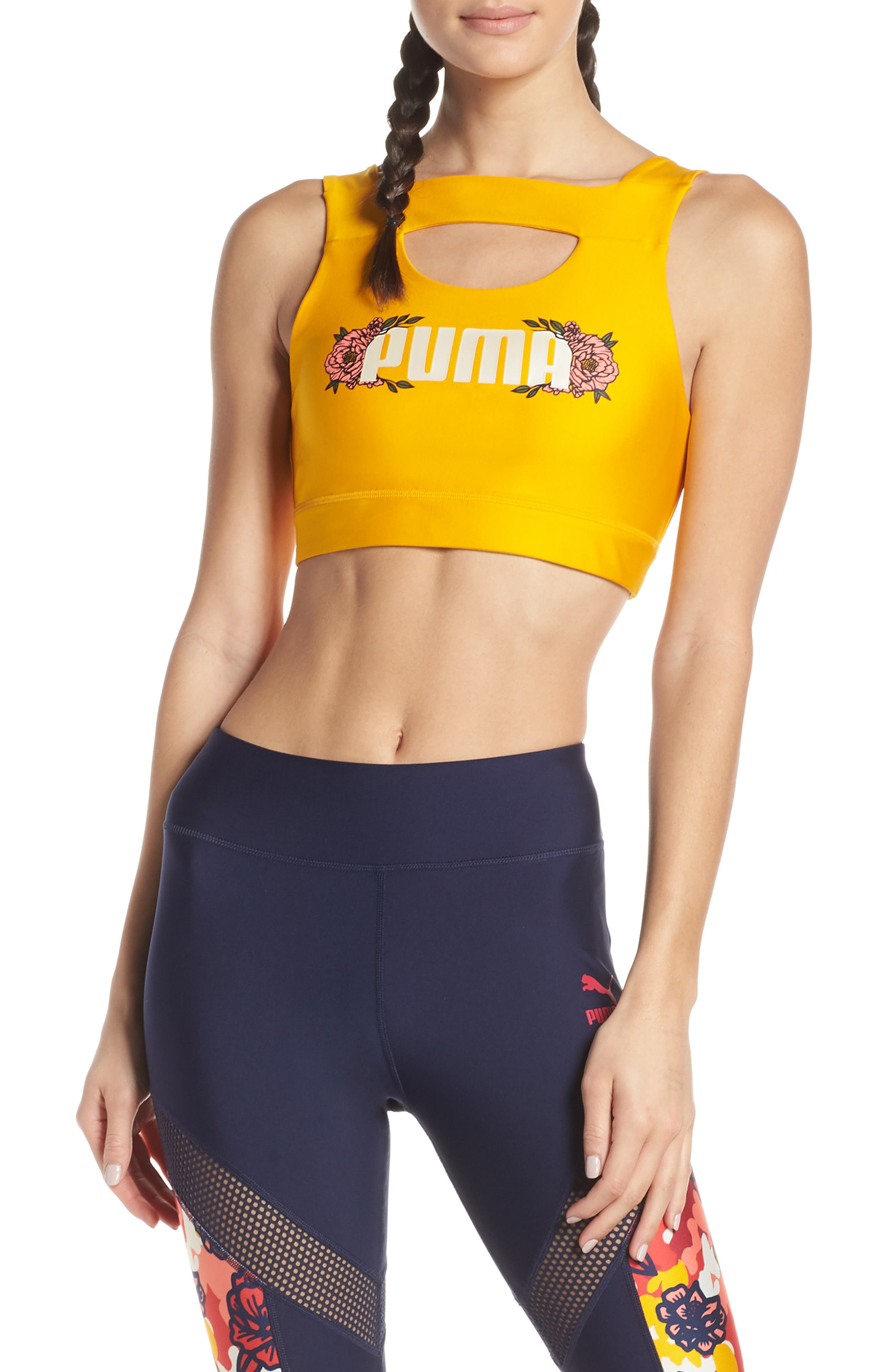 Puma Flourish Crop Top, Yellow