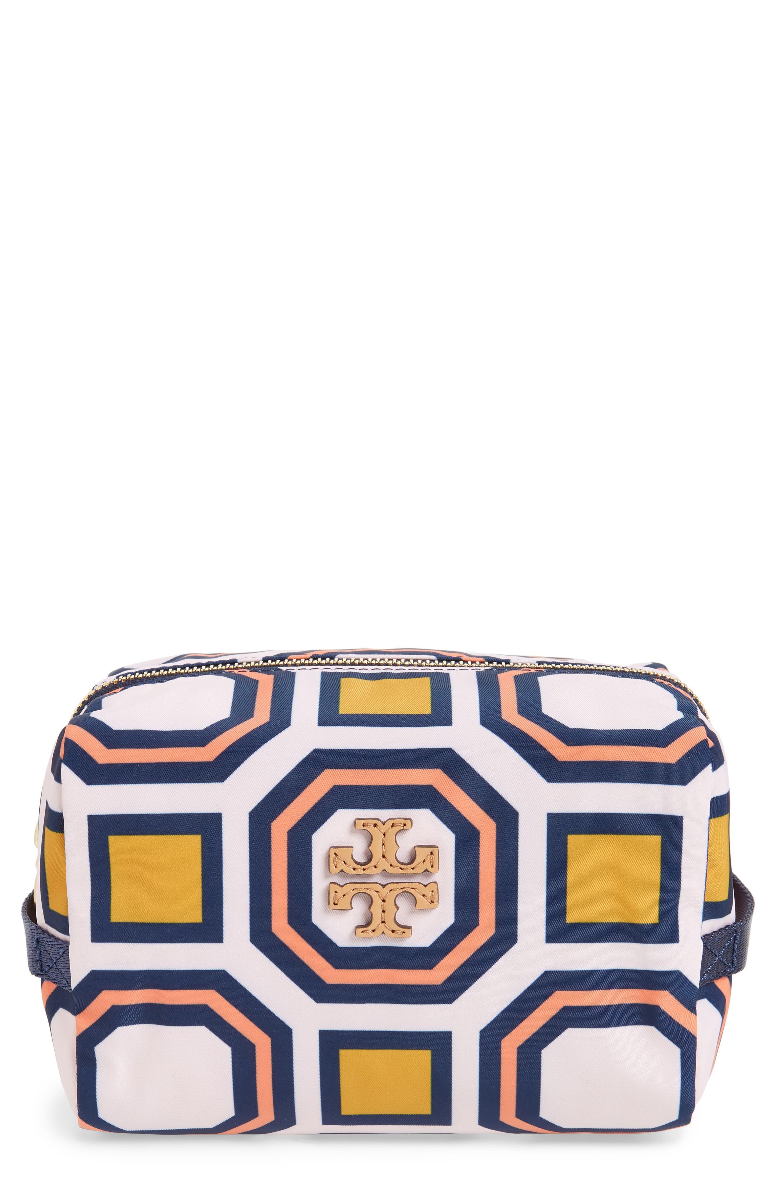 Octagon Print Medium Cosmetics Bag,                             Main thumbnail 1, color,