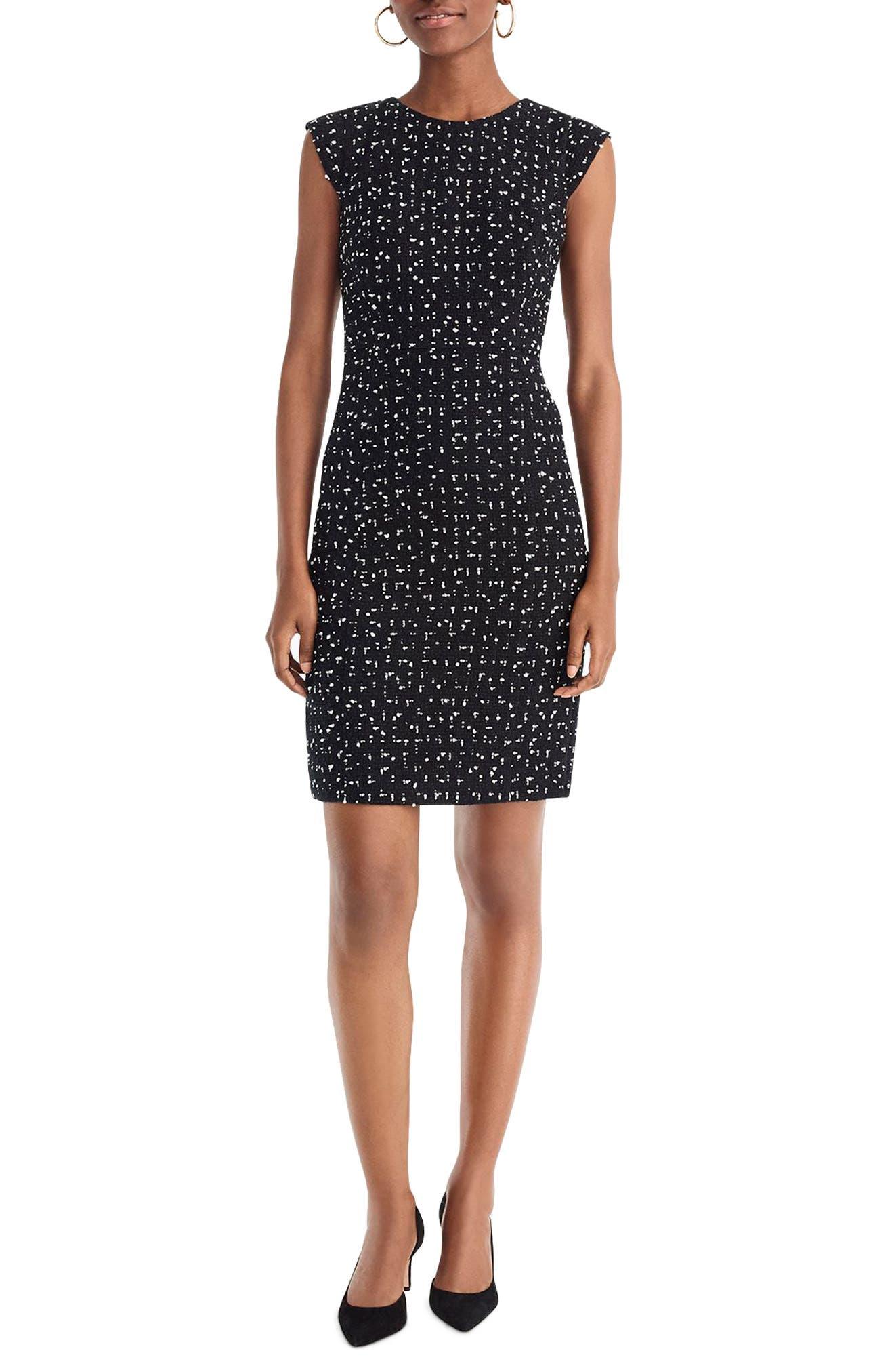 Tweed Cap Sleeve Sheath Dress,                             Main thumbnail 1, color,                             DEEPEST NAVY IVORY