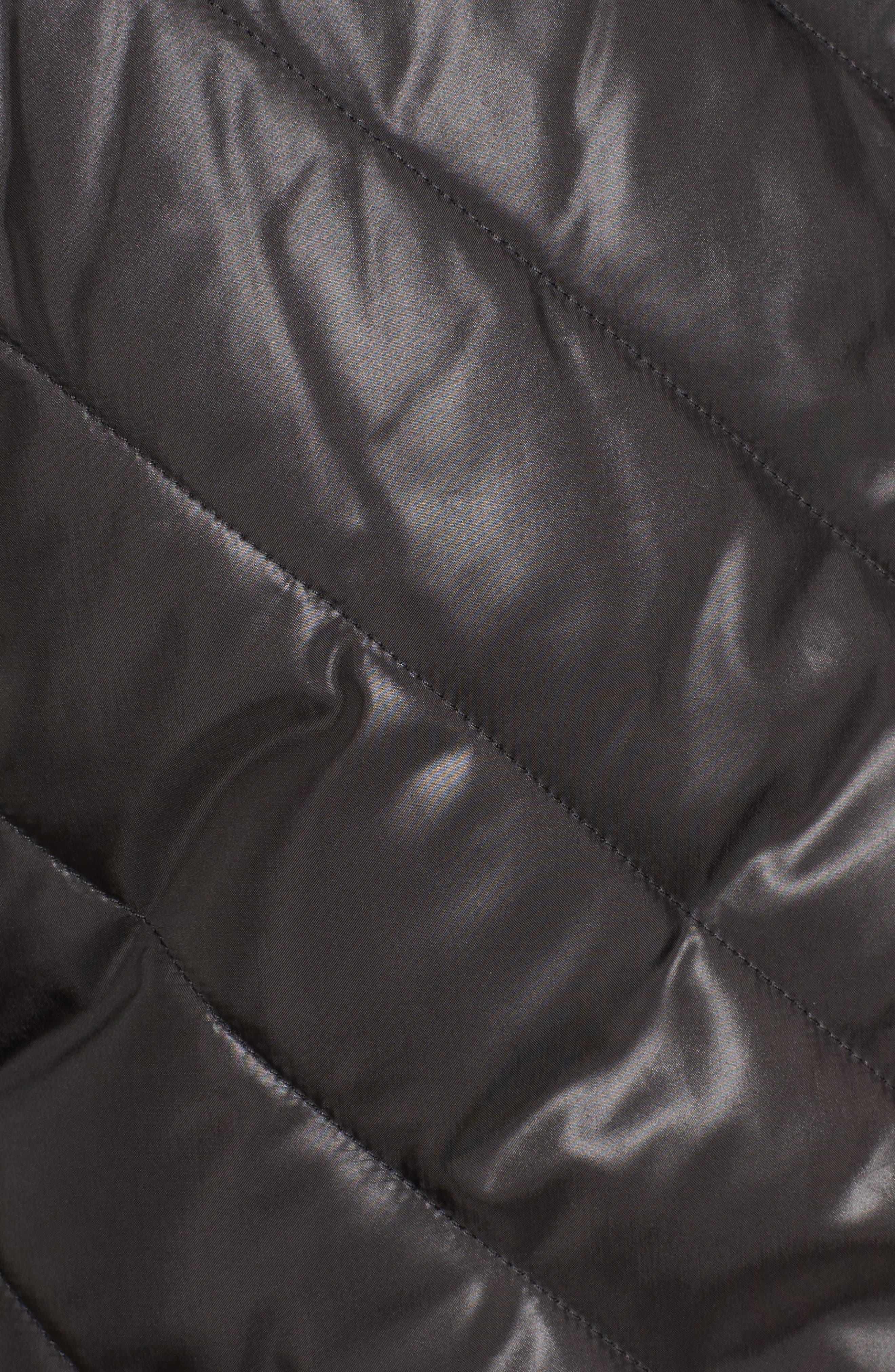 Hooded Merino Wool Trim Jacket,                             Alternate thumbnail 6, color,                             001