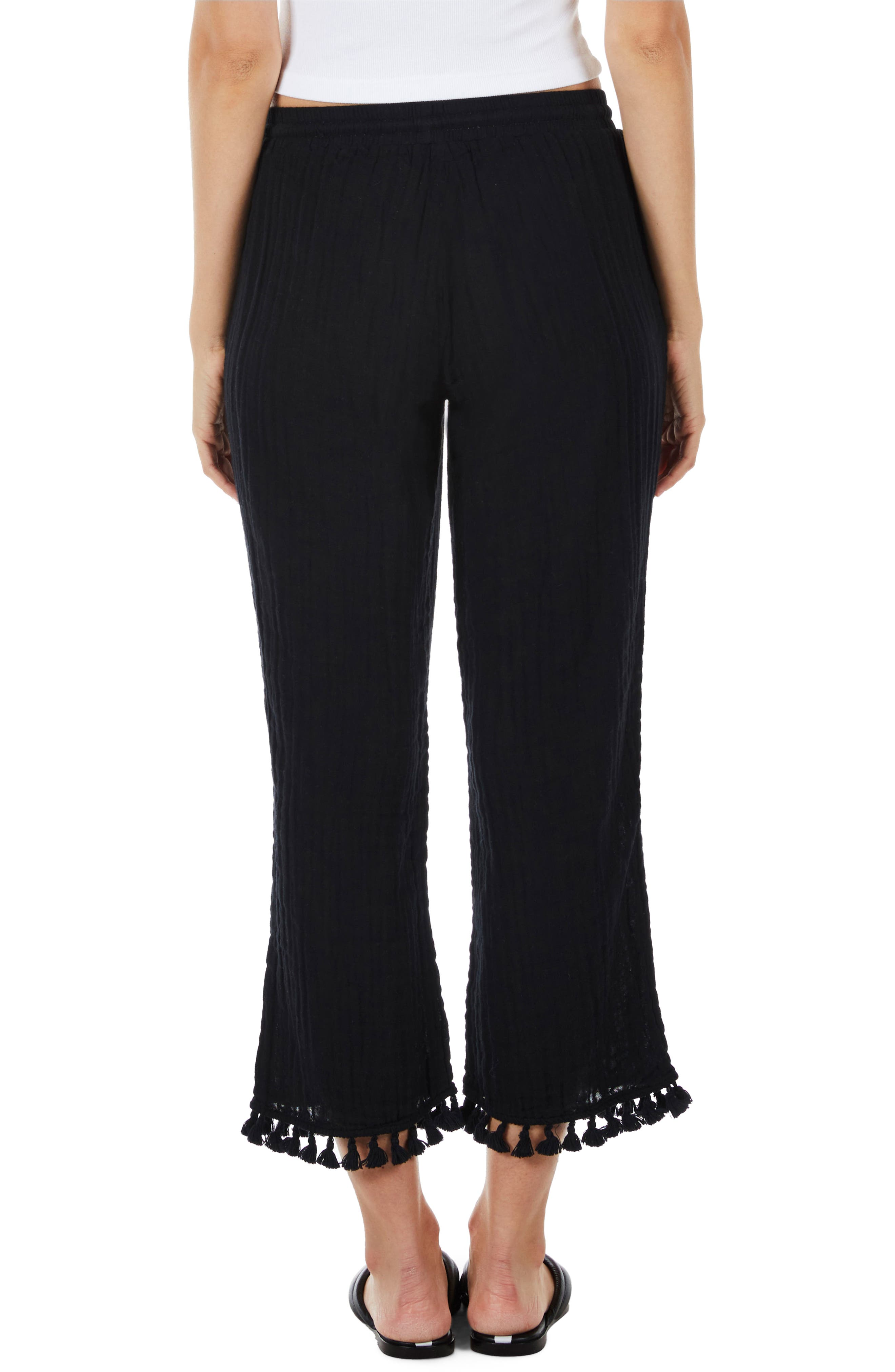 Tassel Hem Pants,                             Alternate thumbnail 2, color,                             001