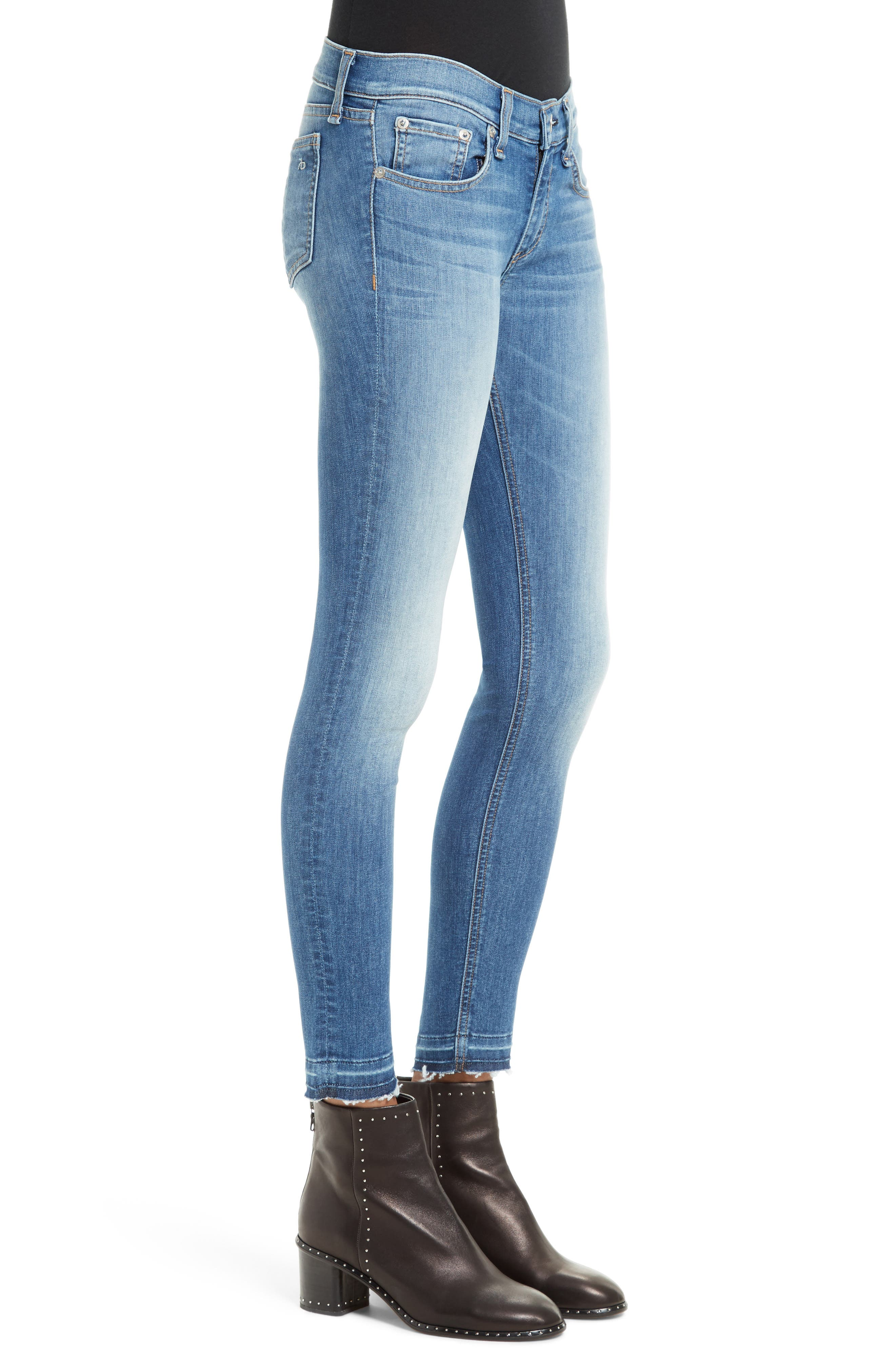 Capri Skinny Jeans,                             Alternate thumbnail 3, color,                             CLEAN LILLY DALE