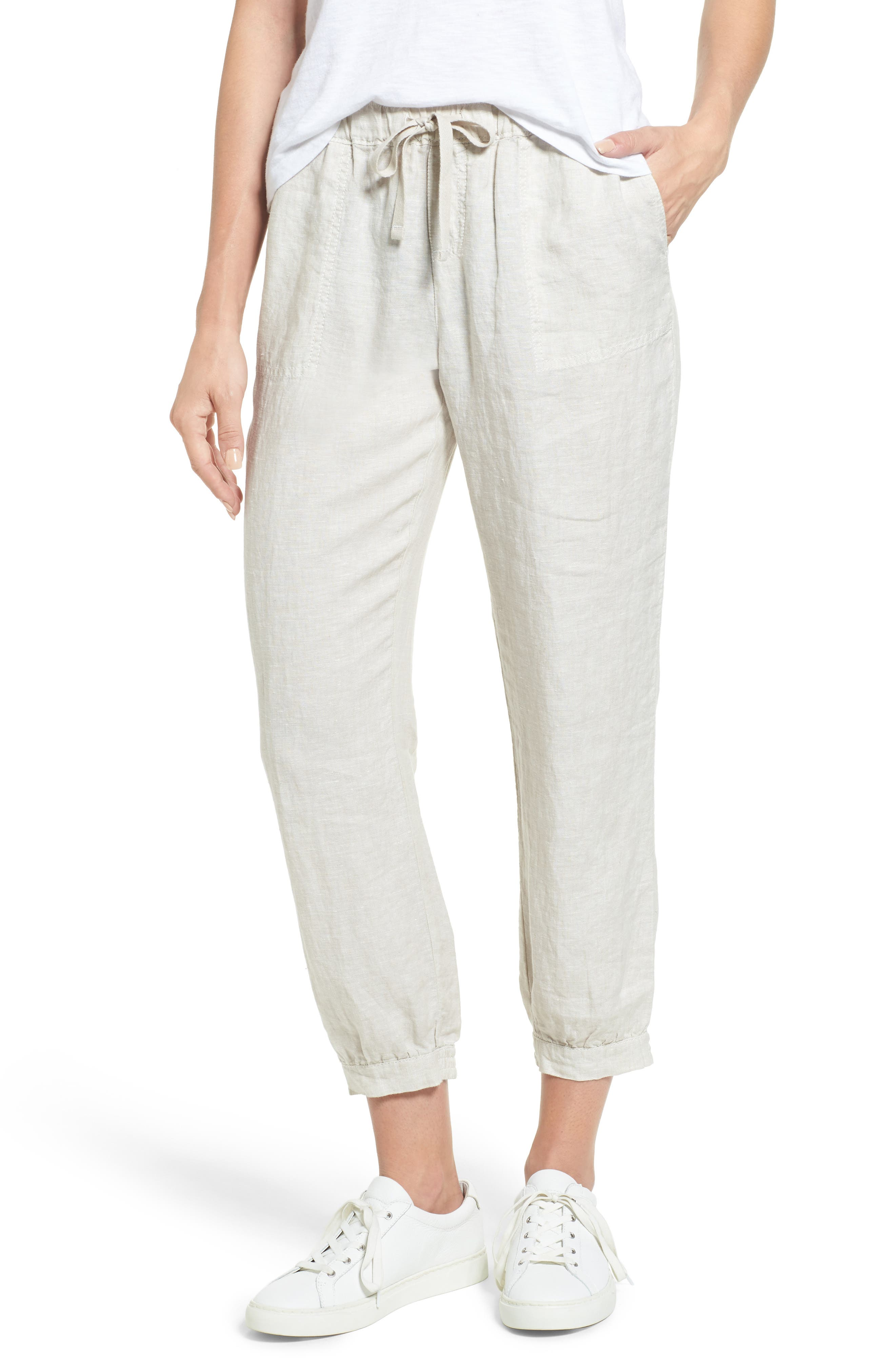 Crop Linen Joggers,                             Main thumbnail 1, color,                             260