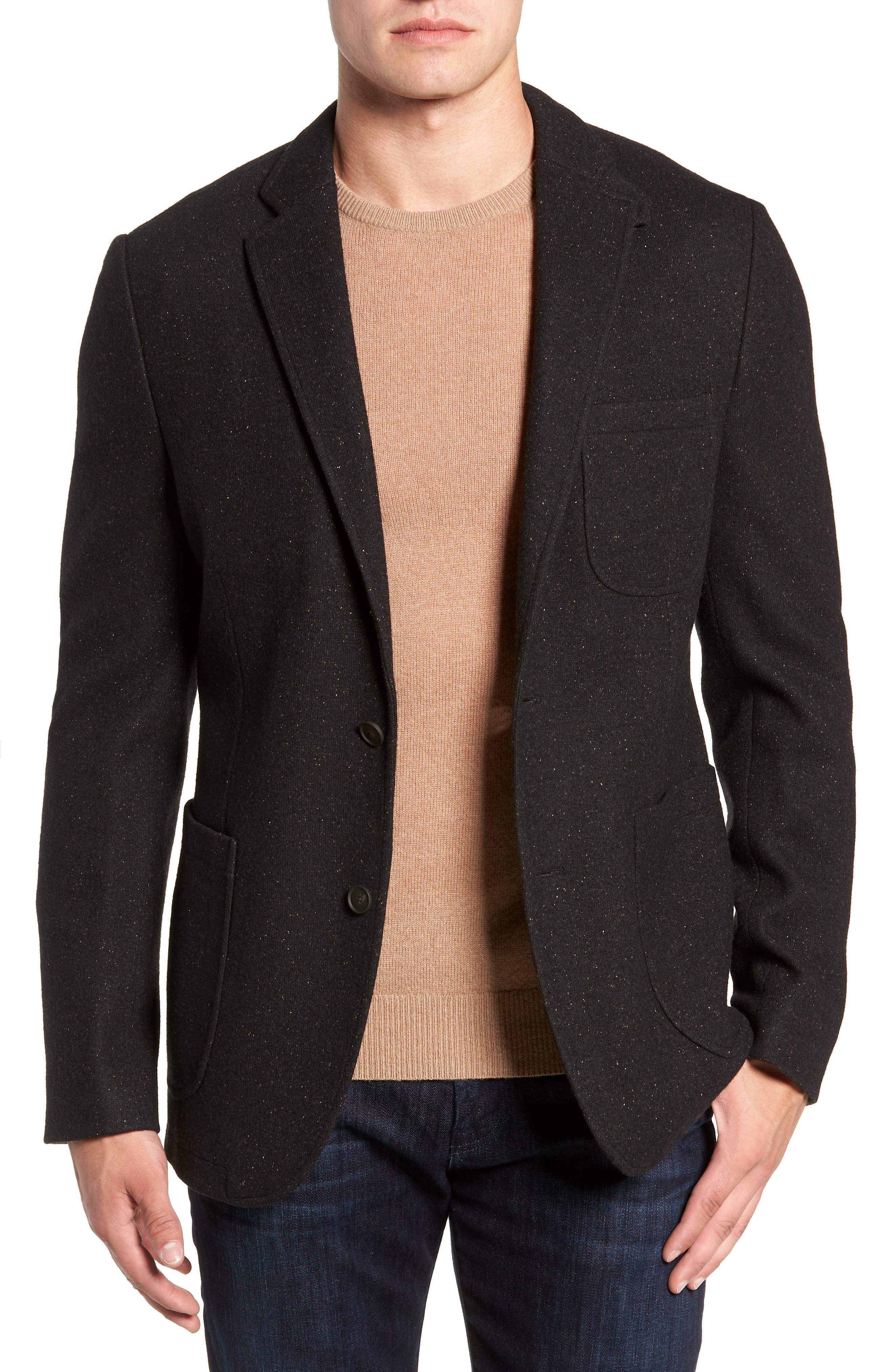 White Solid Cotton Blend Sport Coat,                         Main,                         color, BLACK