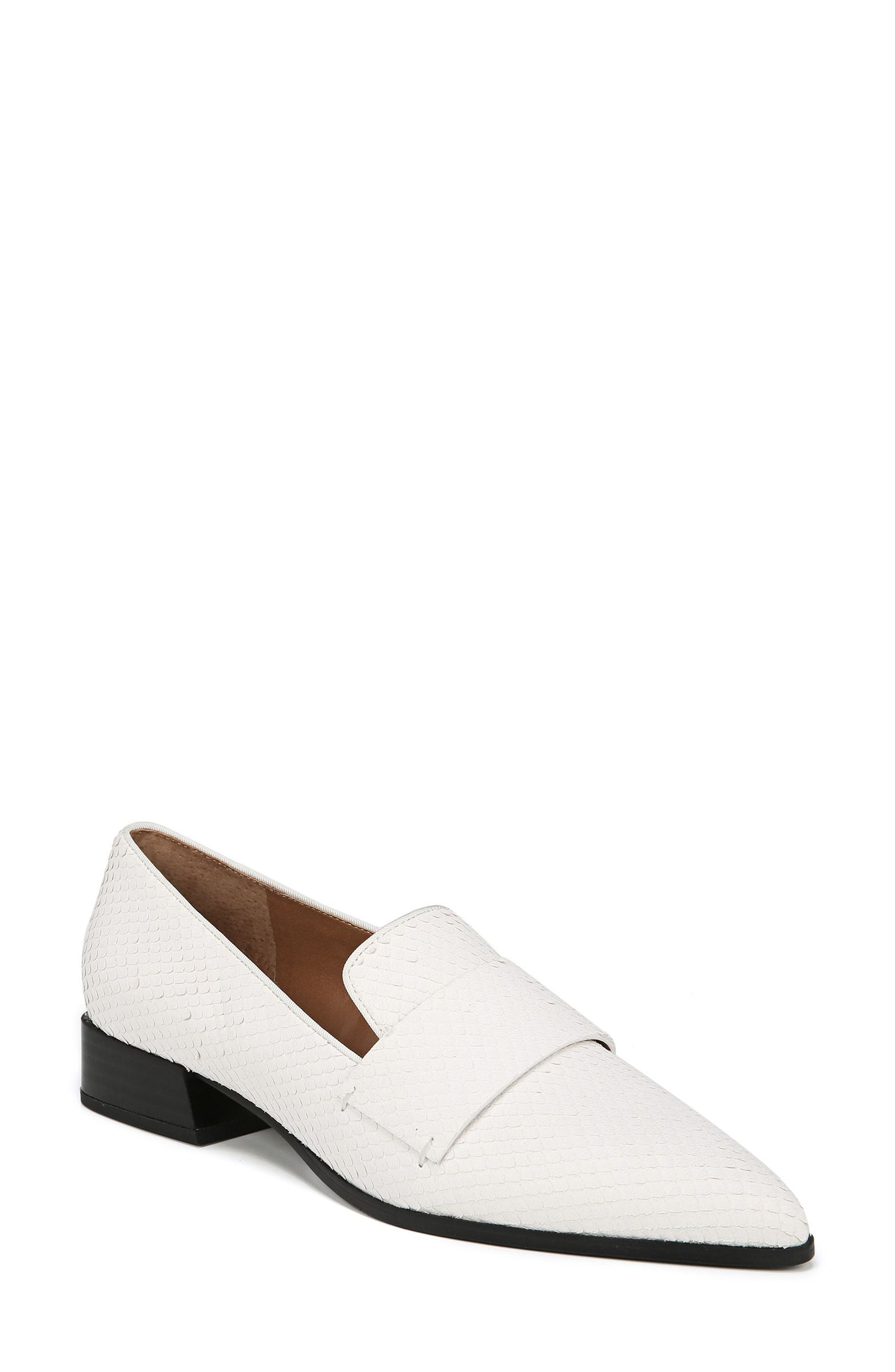 Nebby 2 Pointy Toe Loafer,                             Main thumbnail 1, color,                             WHITE LEATHER