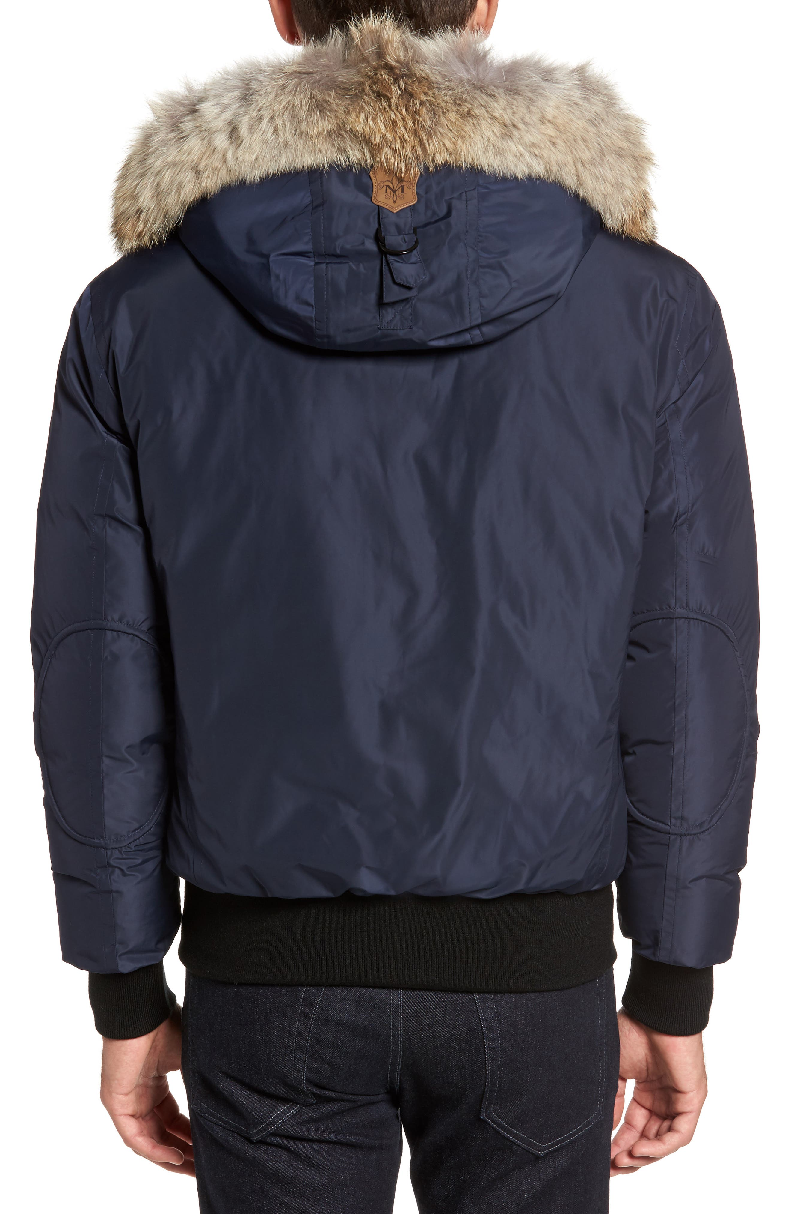 'Florian' Down Bomber Jacket with Genuine Coyote Fur Trim,                             Alternate thumbnail 2, color,                             INK