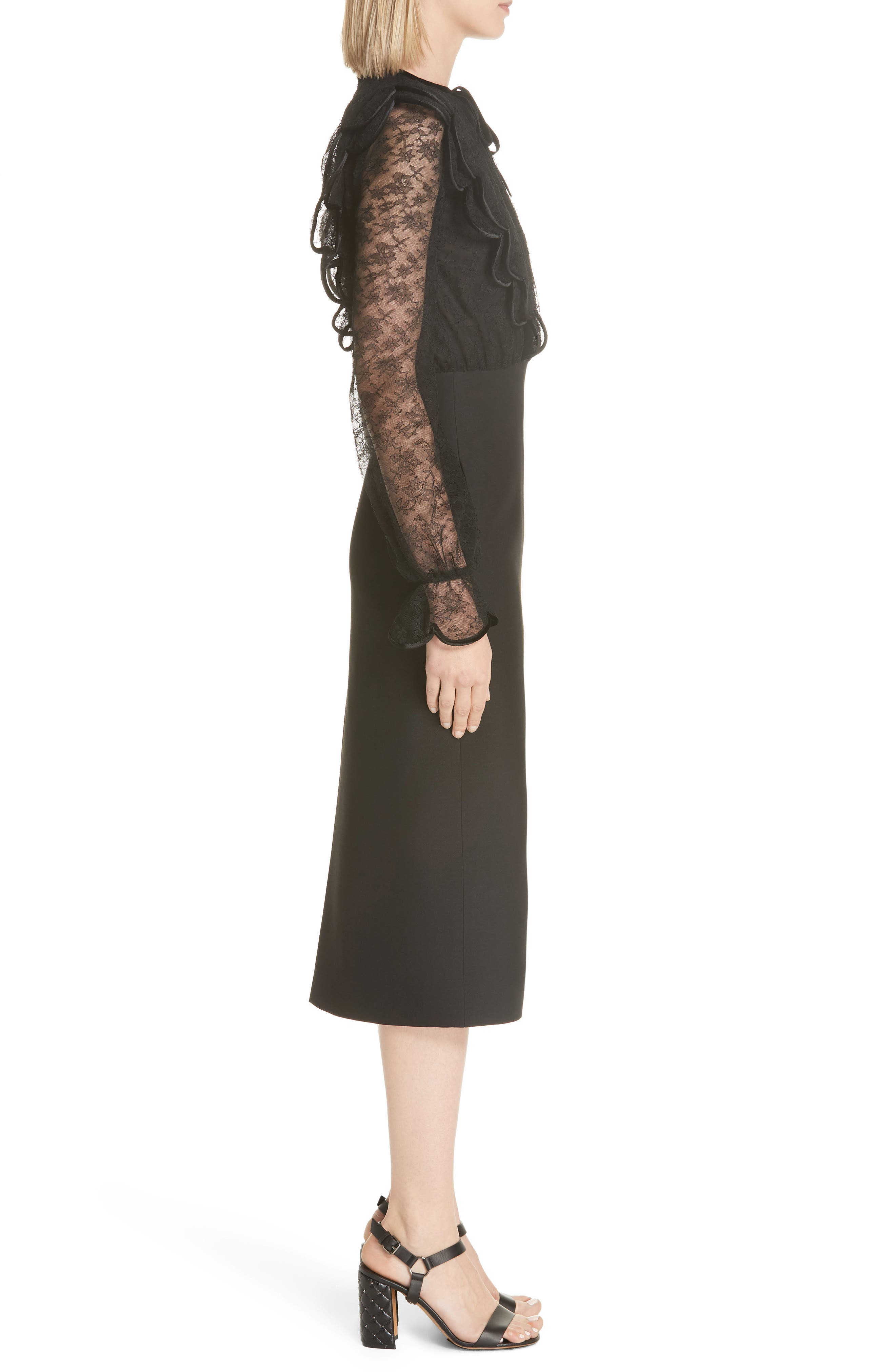 Lace Bodice Sheath Dress,                             Alternate thumbnail 3, color,                             001