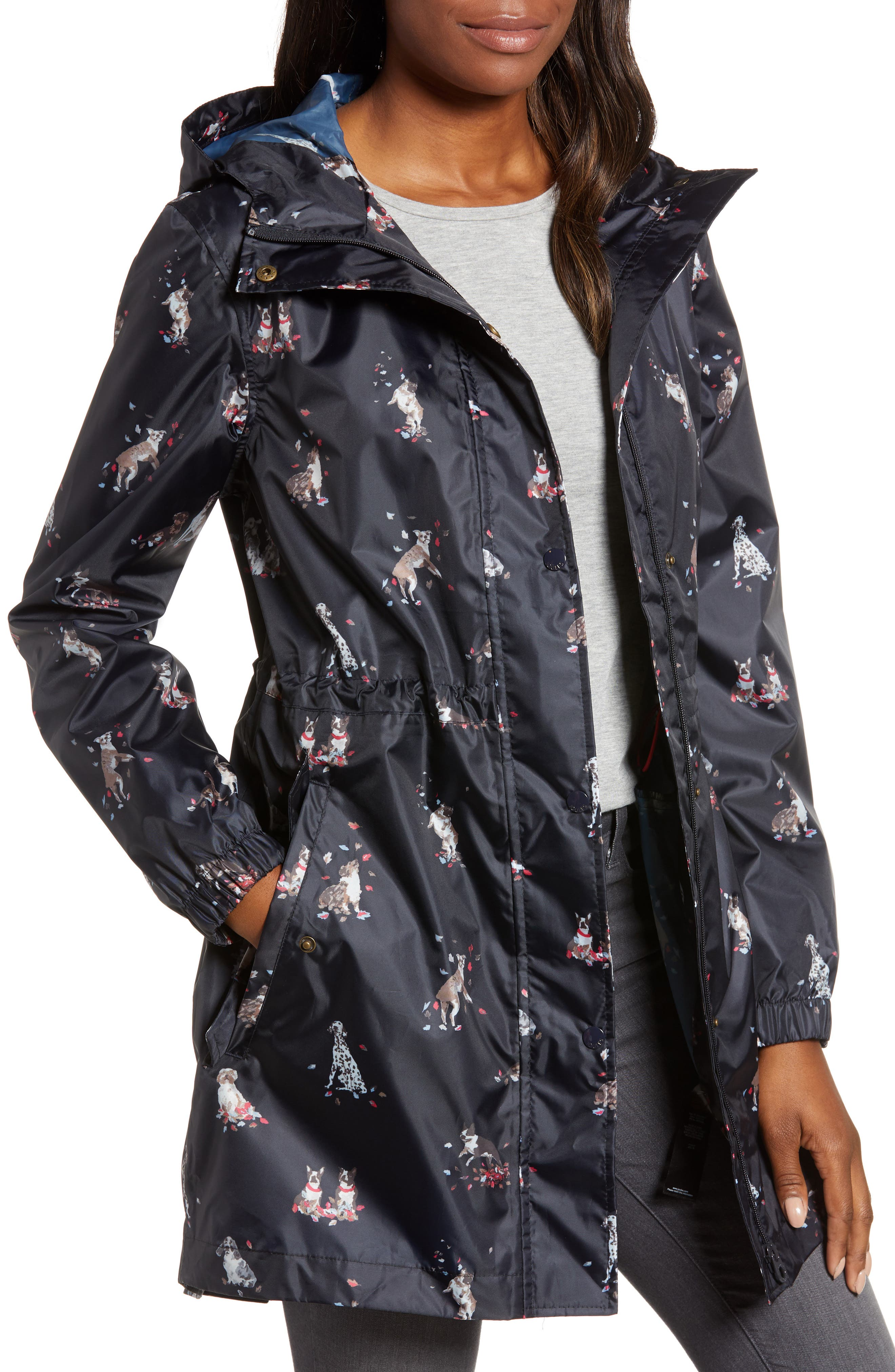 Right as Rain Packable Print Hooded Raincoat,                             Main thumbnail 1, color,                             DOGS IN LEAVES