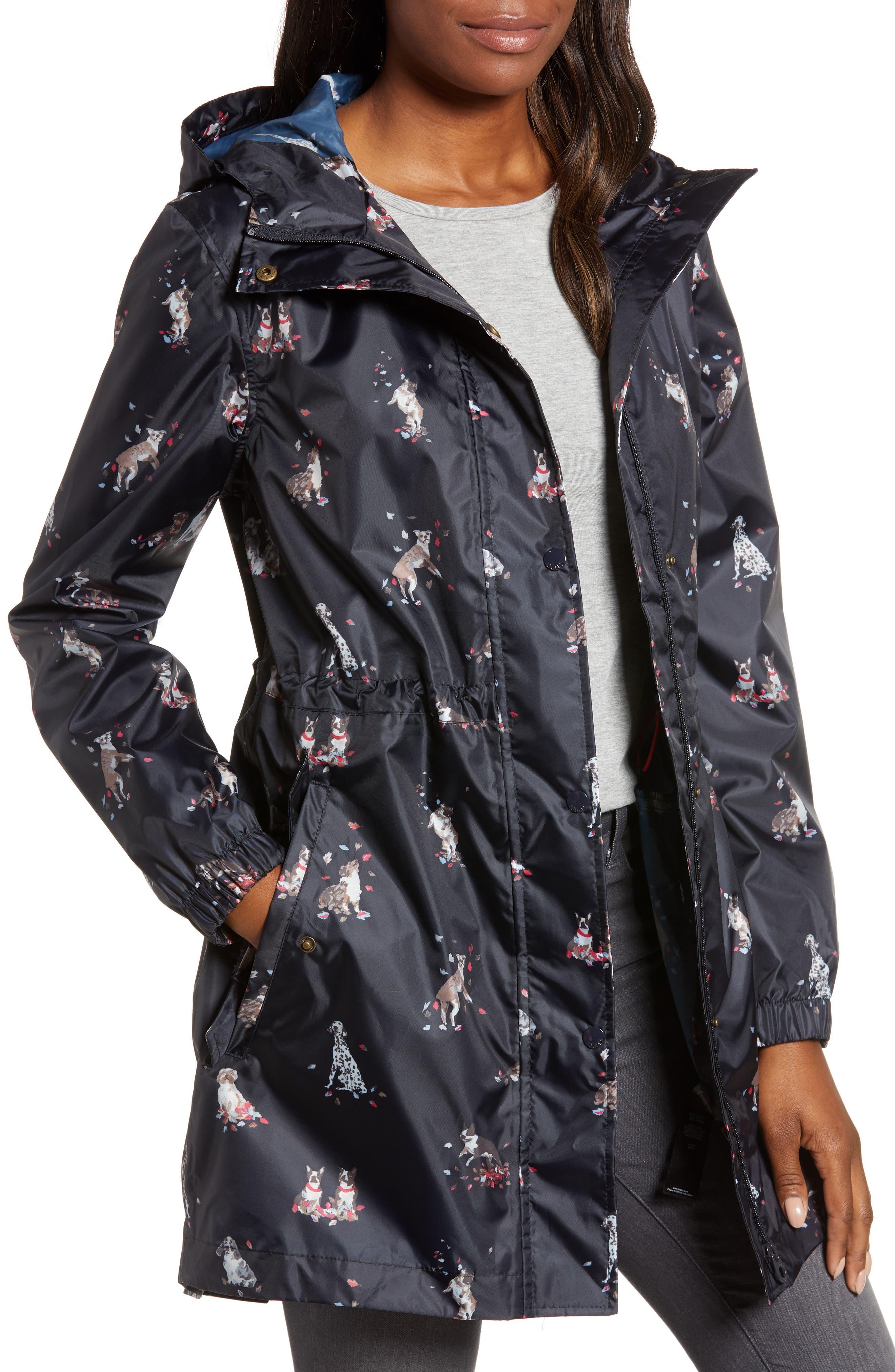 Right as Rain Packable Print Hooded Raincoat, Main, color, 410