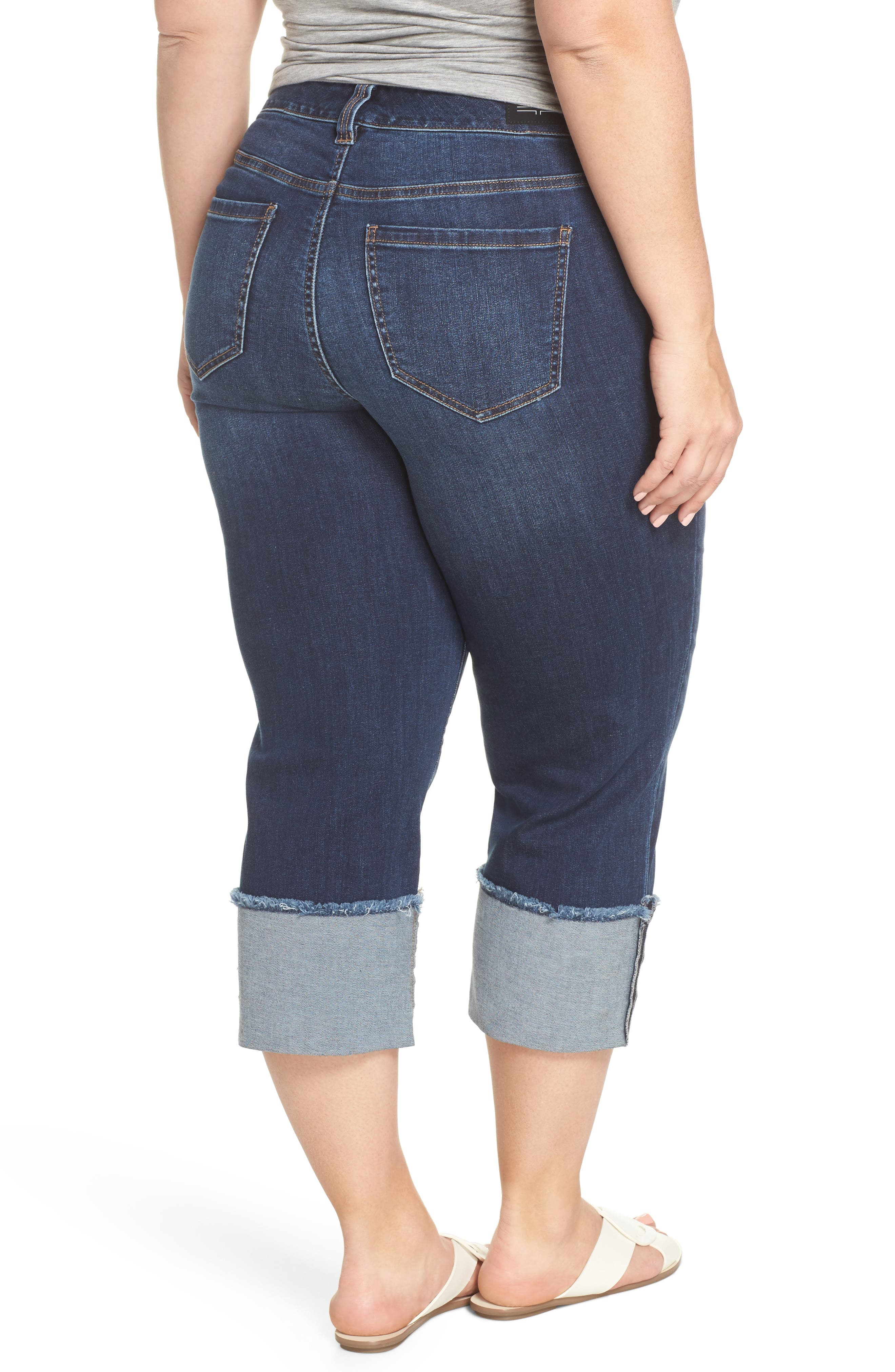 Morgan Wide Cuff Crop Jeans,                             Alternate thumbnail 2, color,                             CHAPMAN WASH