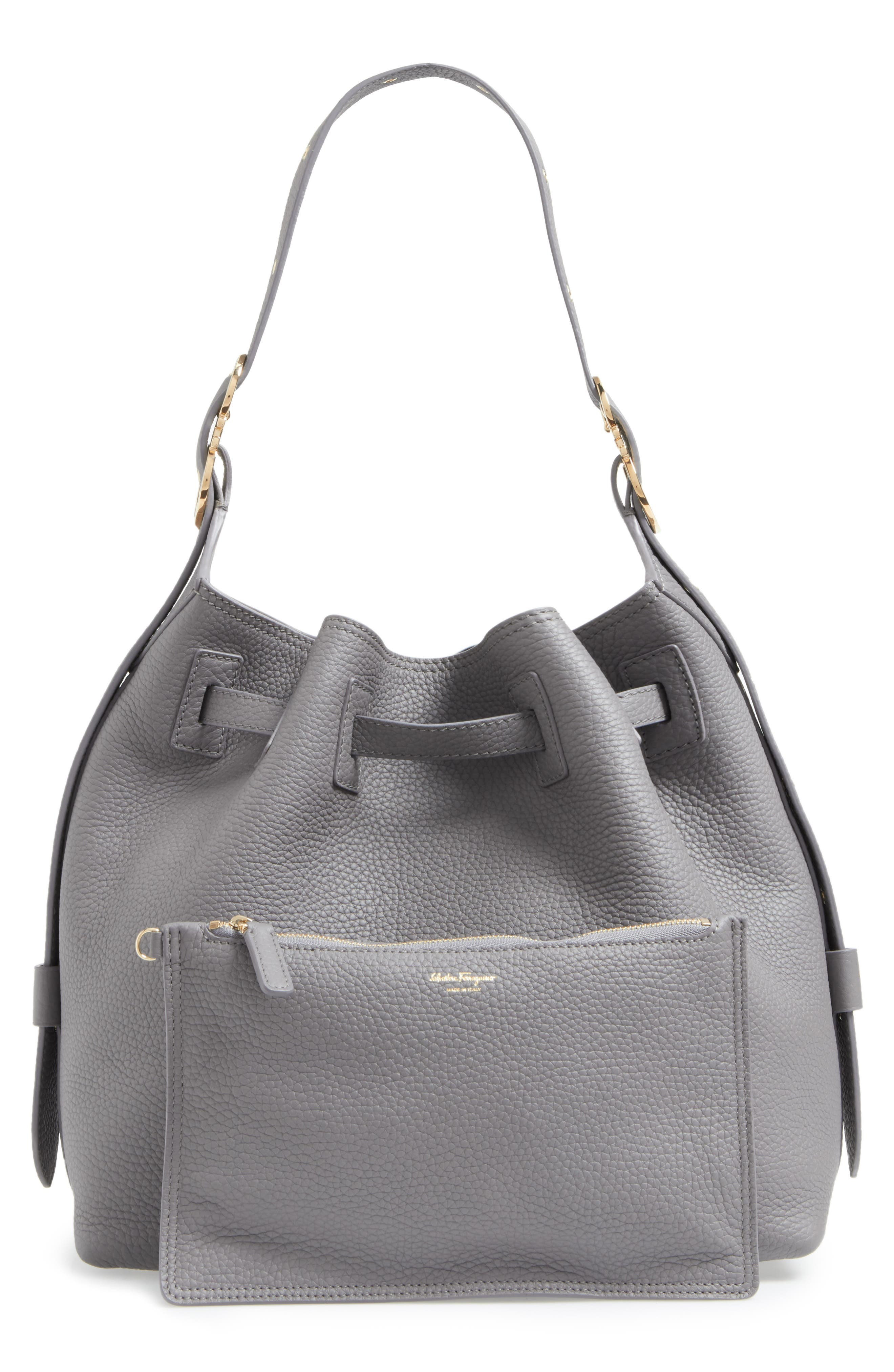 SALVATORE FERRAGAMO,                             Pebbled Leather Drawstring Bucket Bag,                             Alternate thumbnail 3, color,                             020