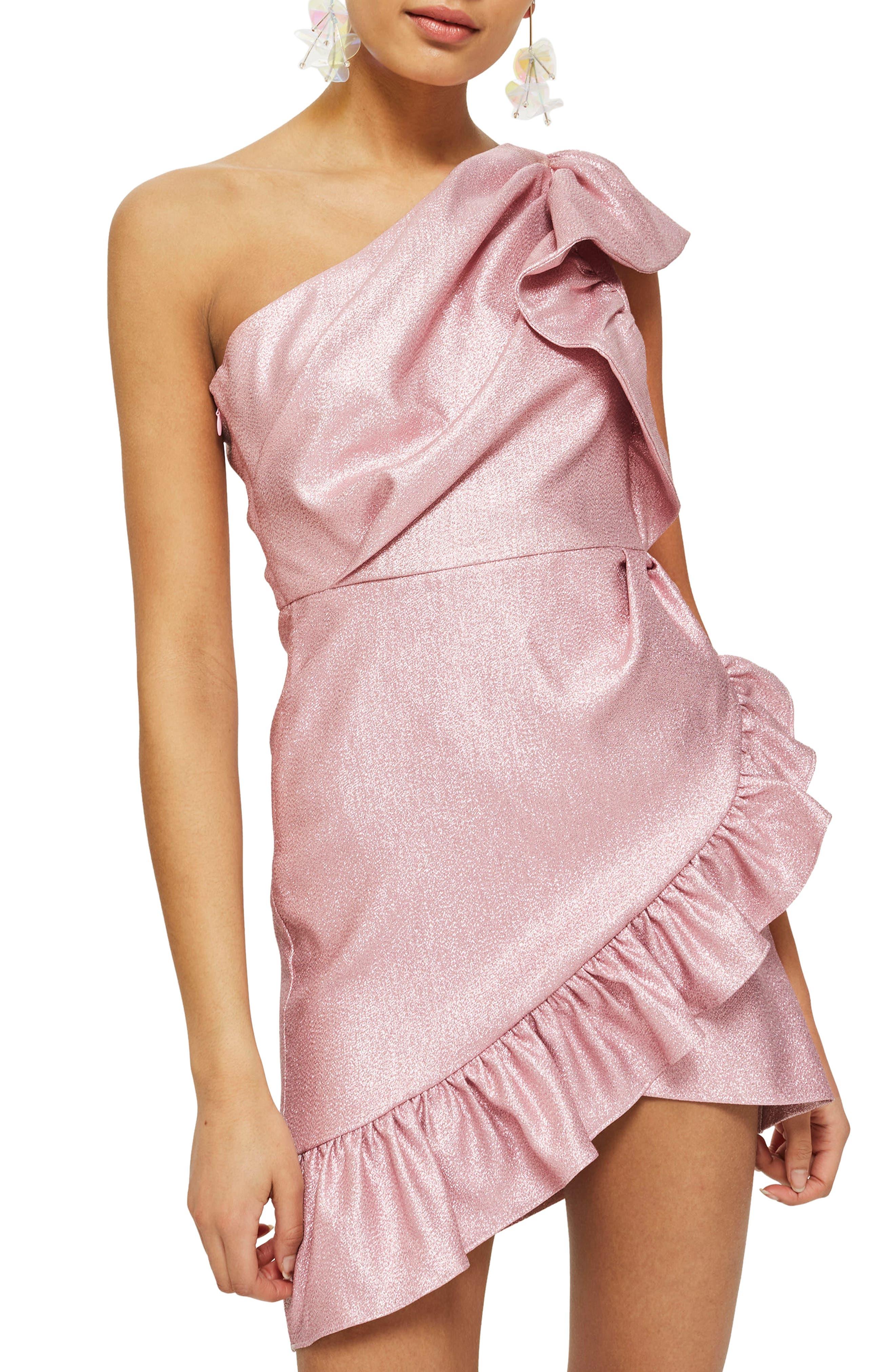 One-Shoulder Ruffle Minidress,                             Main thumbnail 2, color,