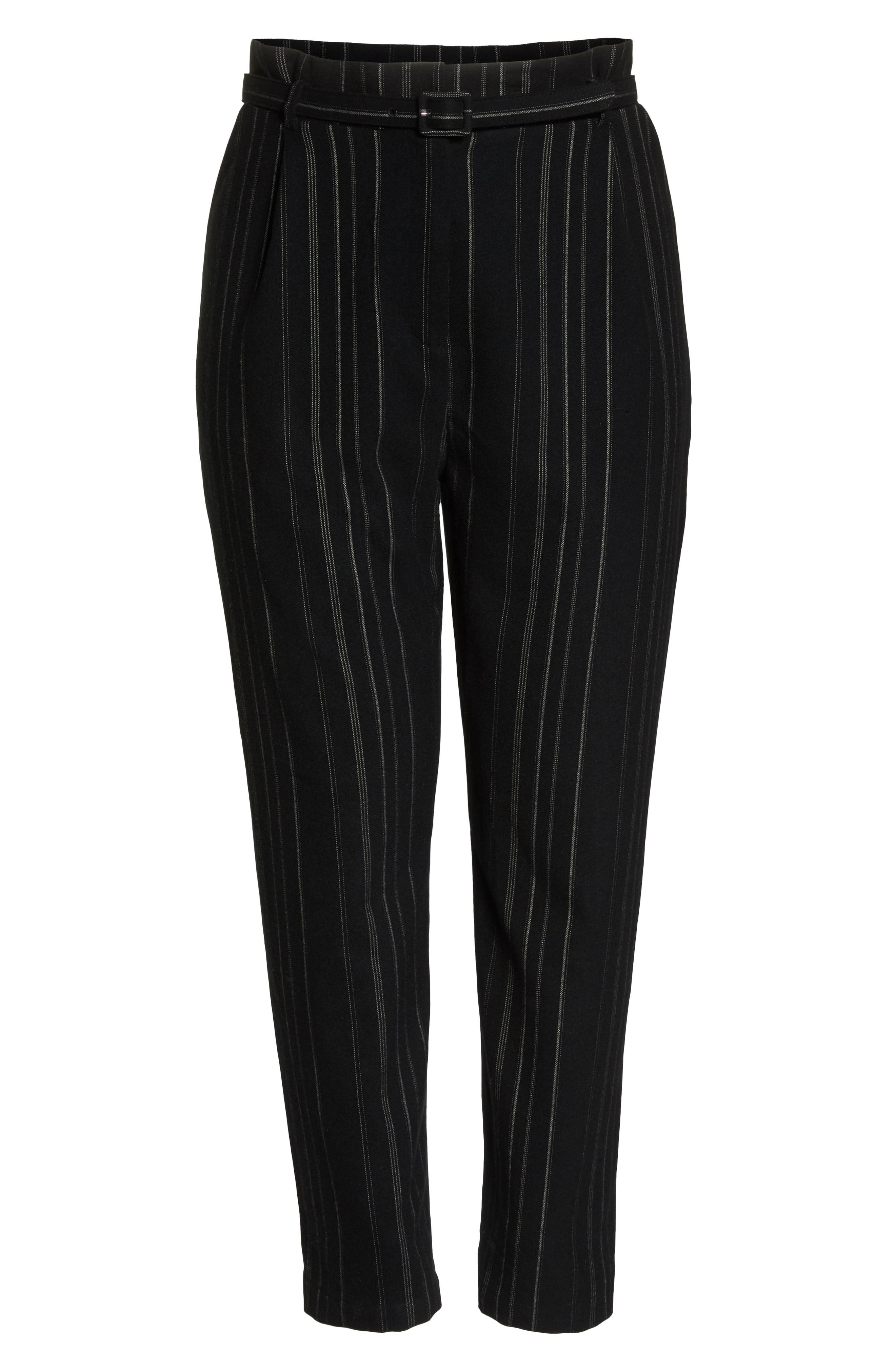 High Rise Belted Paperbag Pants,                             Alternate thumbnail 12, color,                             BLACK MIXED STRIPE