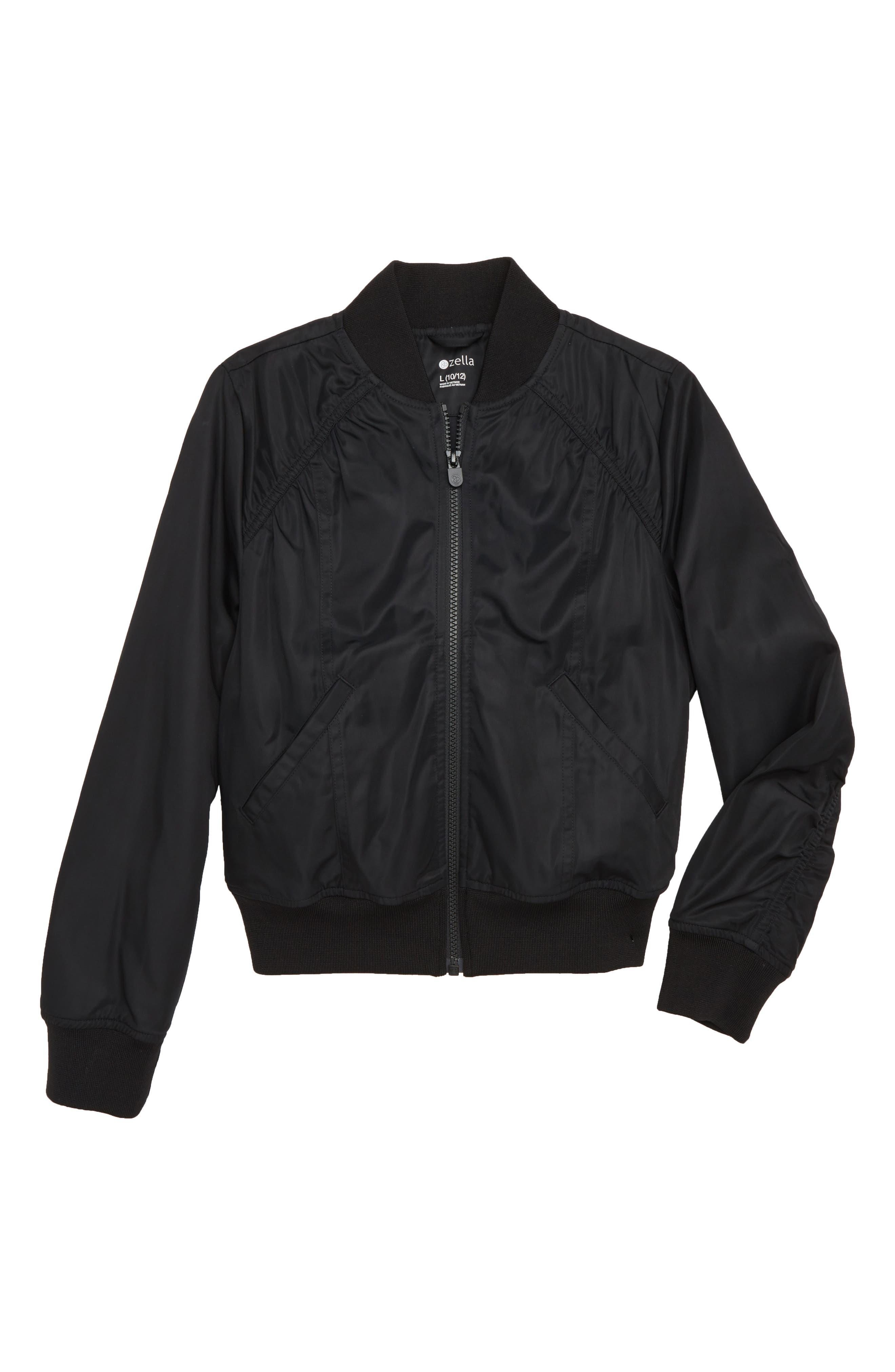 Ruched Shoulder Shine Bomber Jacket,                             Main thumbnail 1, color,                             001