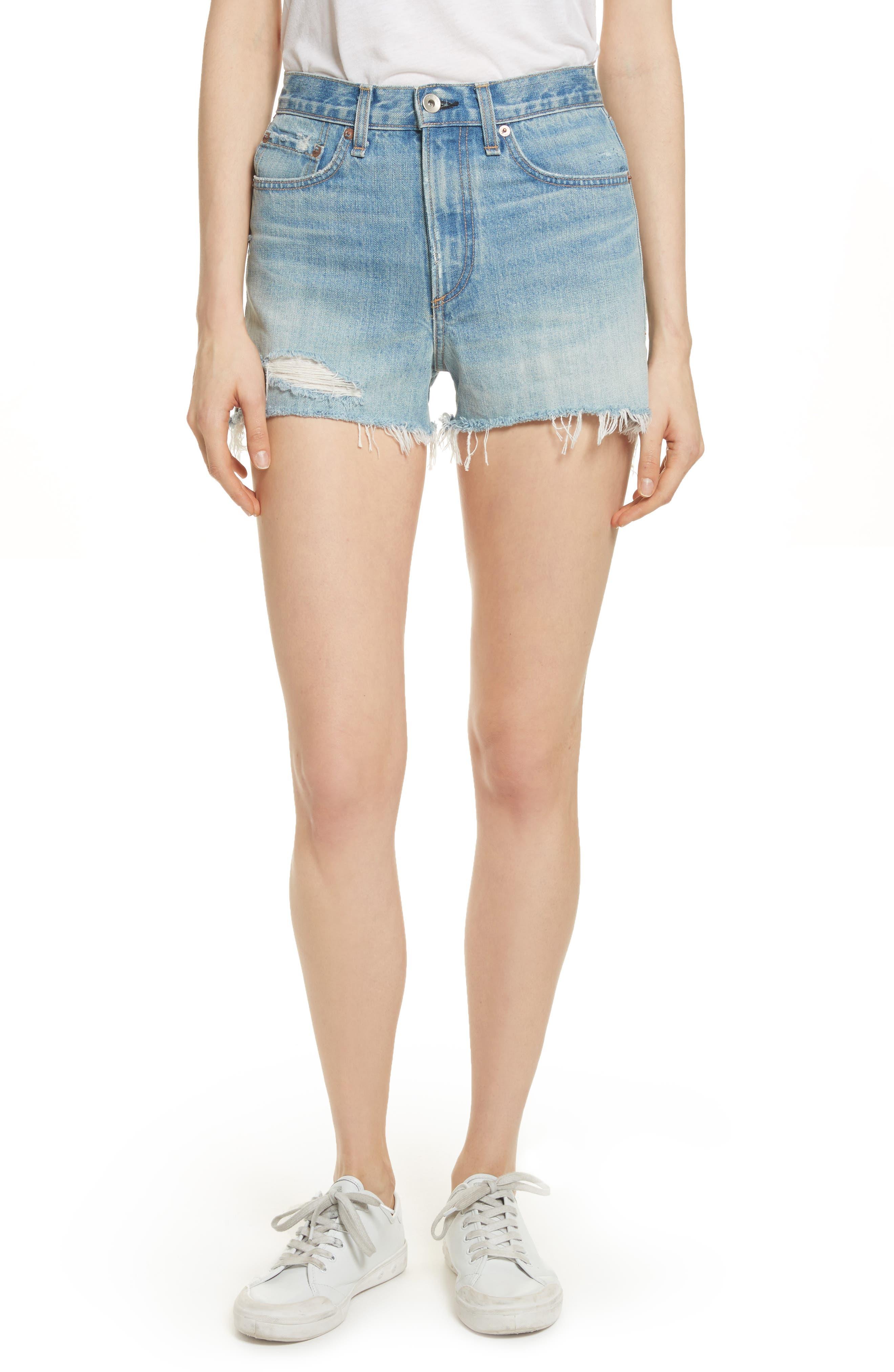Justine High Waist Cutoff Denim Shorts,                         Main,                         color, 450
