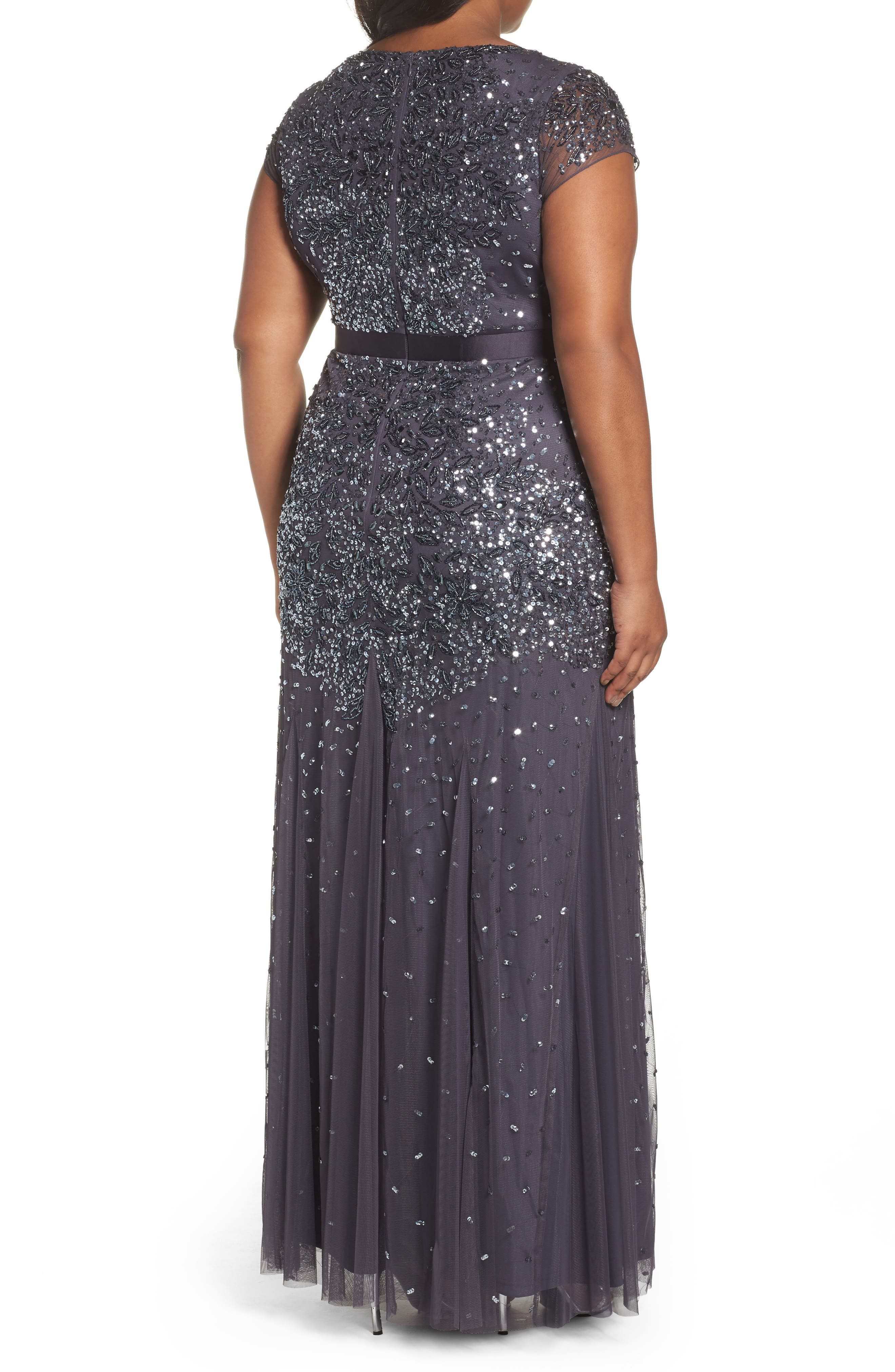 Beaded V-Neck Gown,                             Alternate thumbnail 3, color,                             GUNMETAL