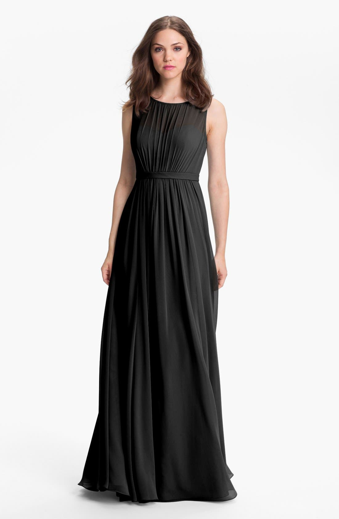 Vivienne Pleated Chiffon Gown,                         Main,                         color,