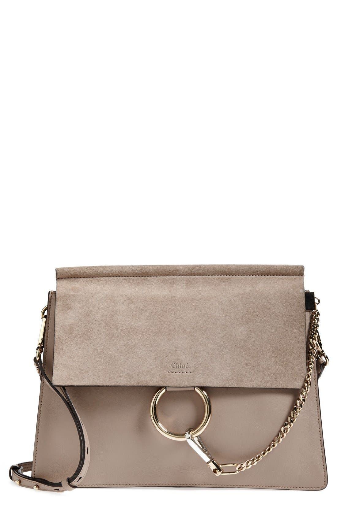 'Faye' Leather & Suede Shoulder Bag,                             Main thumbnail 1, color,                             MOTTY GREY