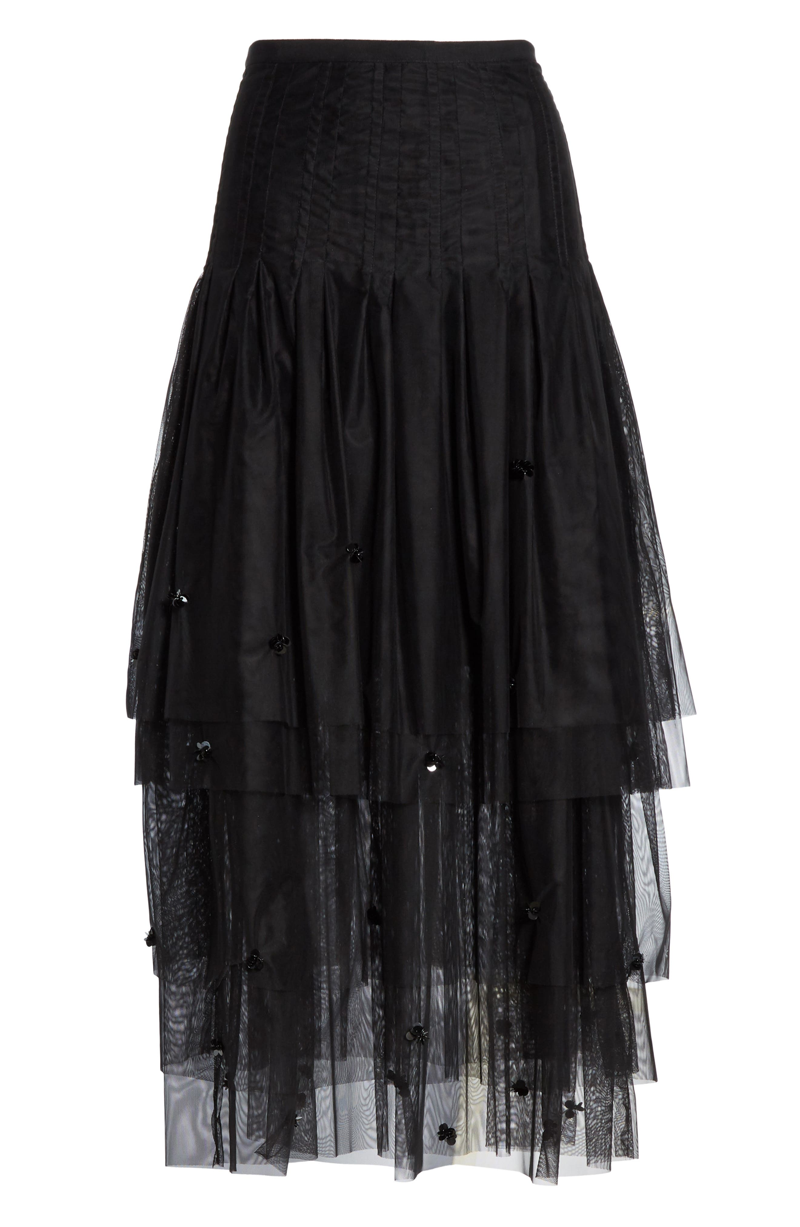 3D Sequin Tulle Maxi Skirt,                             Alternate thumbnail 3, color,                             NERO