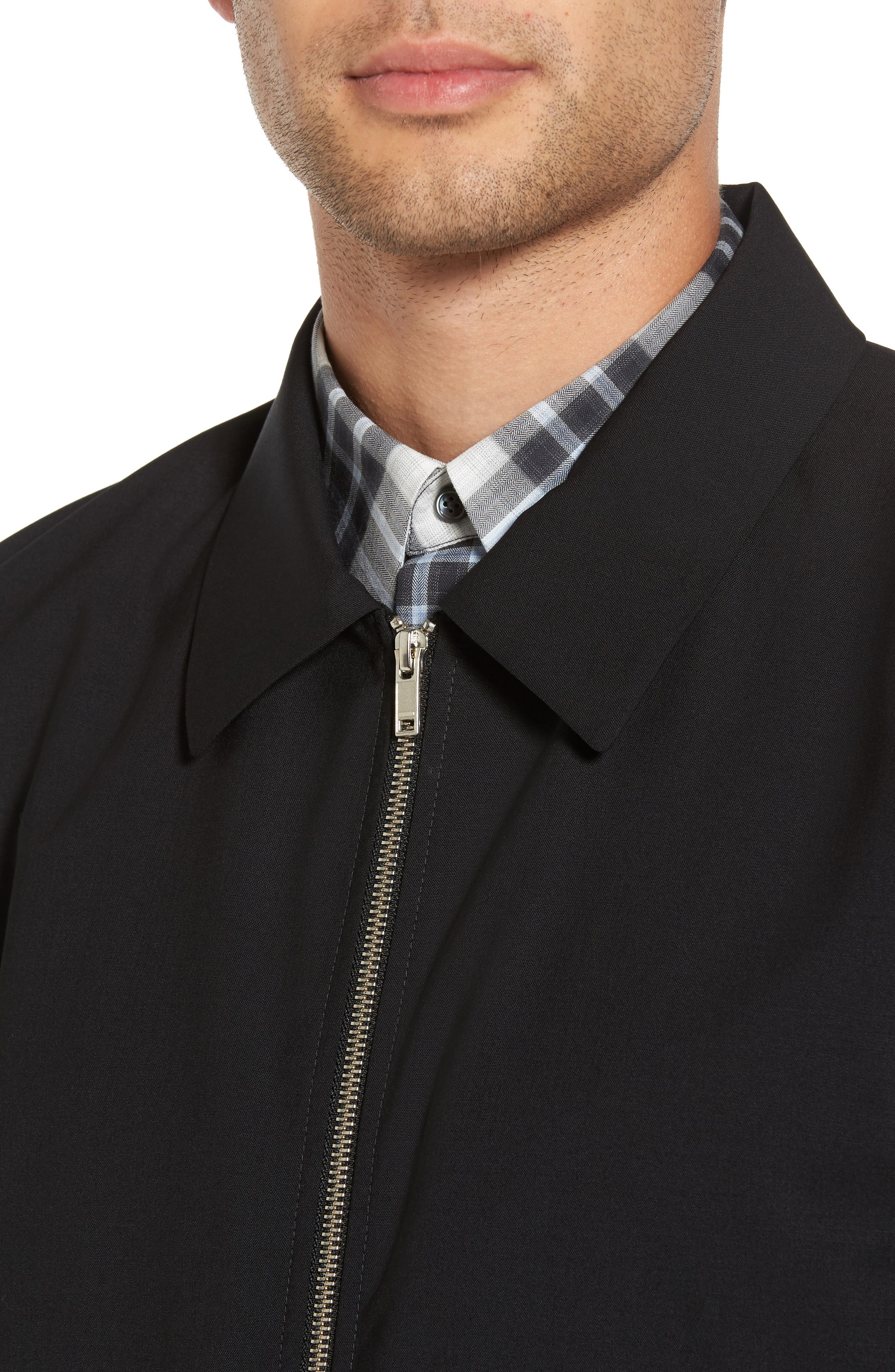 Stretch Wool Zip Front Jacket,                             Alternate thumbnail 4, color,                             001