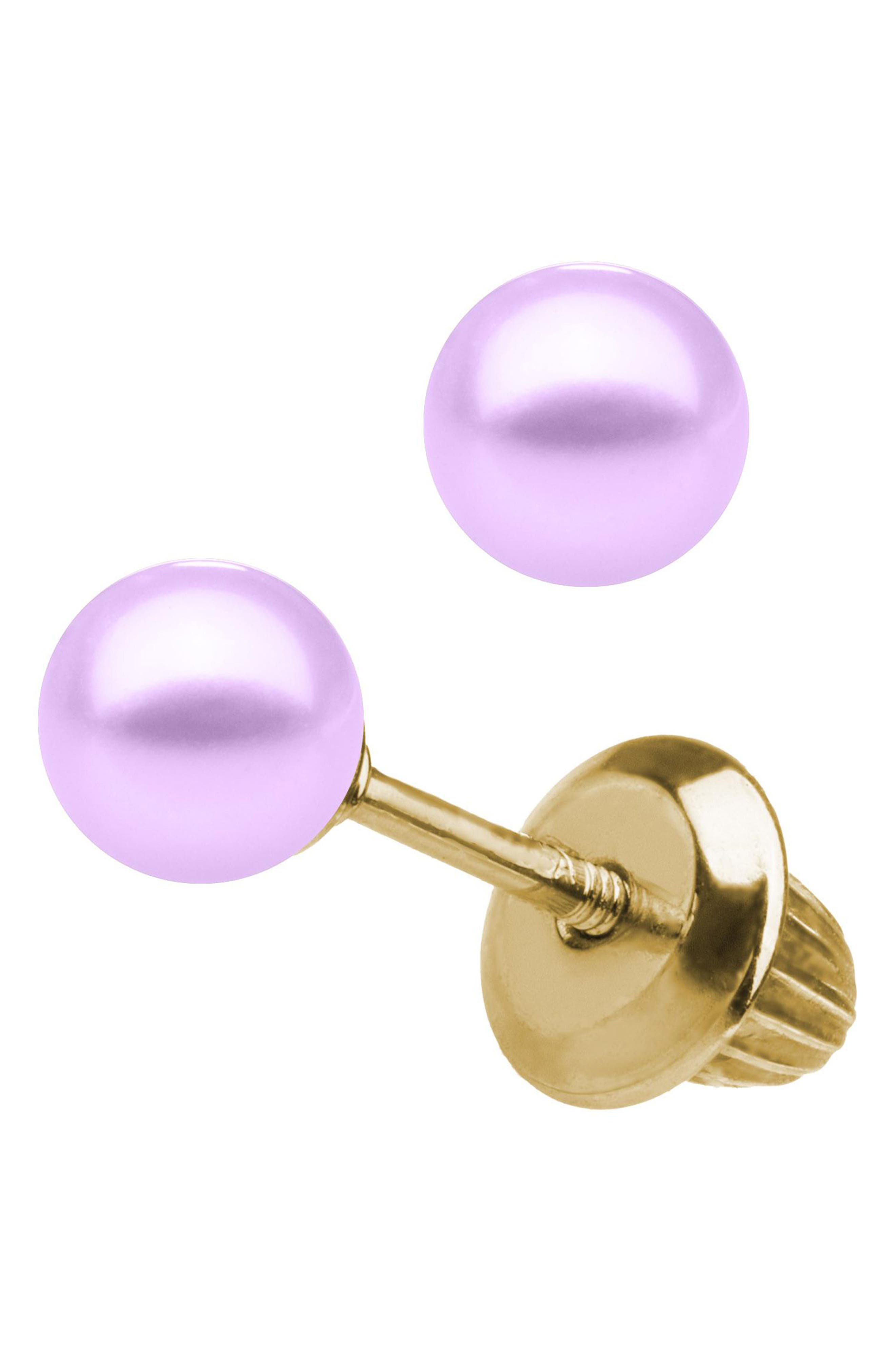 14k Yellow Gold & Cultured Pearl Earrings,                         Main,                         color, PURPLE