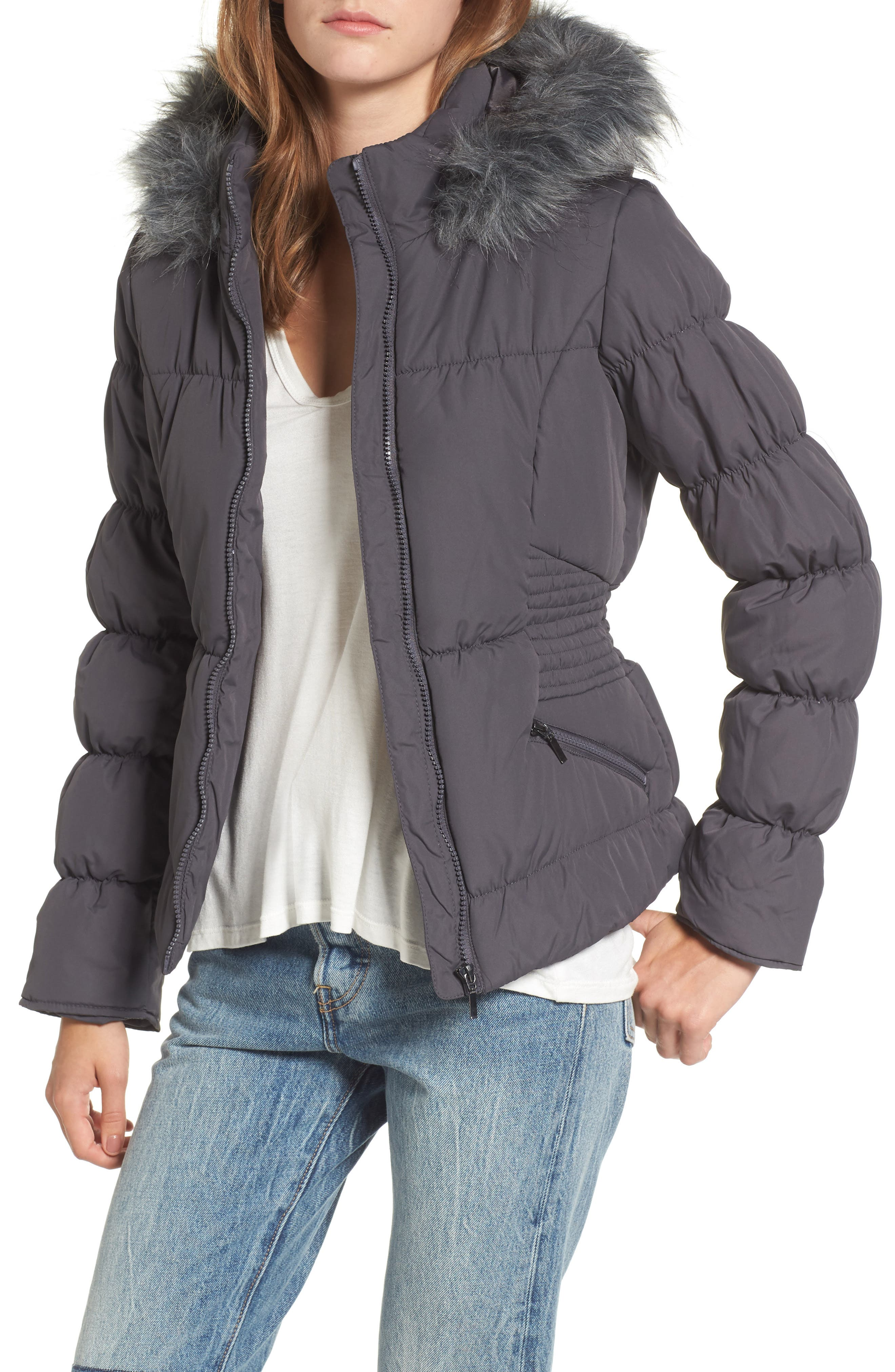 Faux Fur Trim Puffer Coat,                         Main,                         color, 036