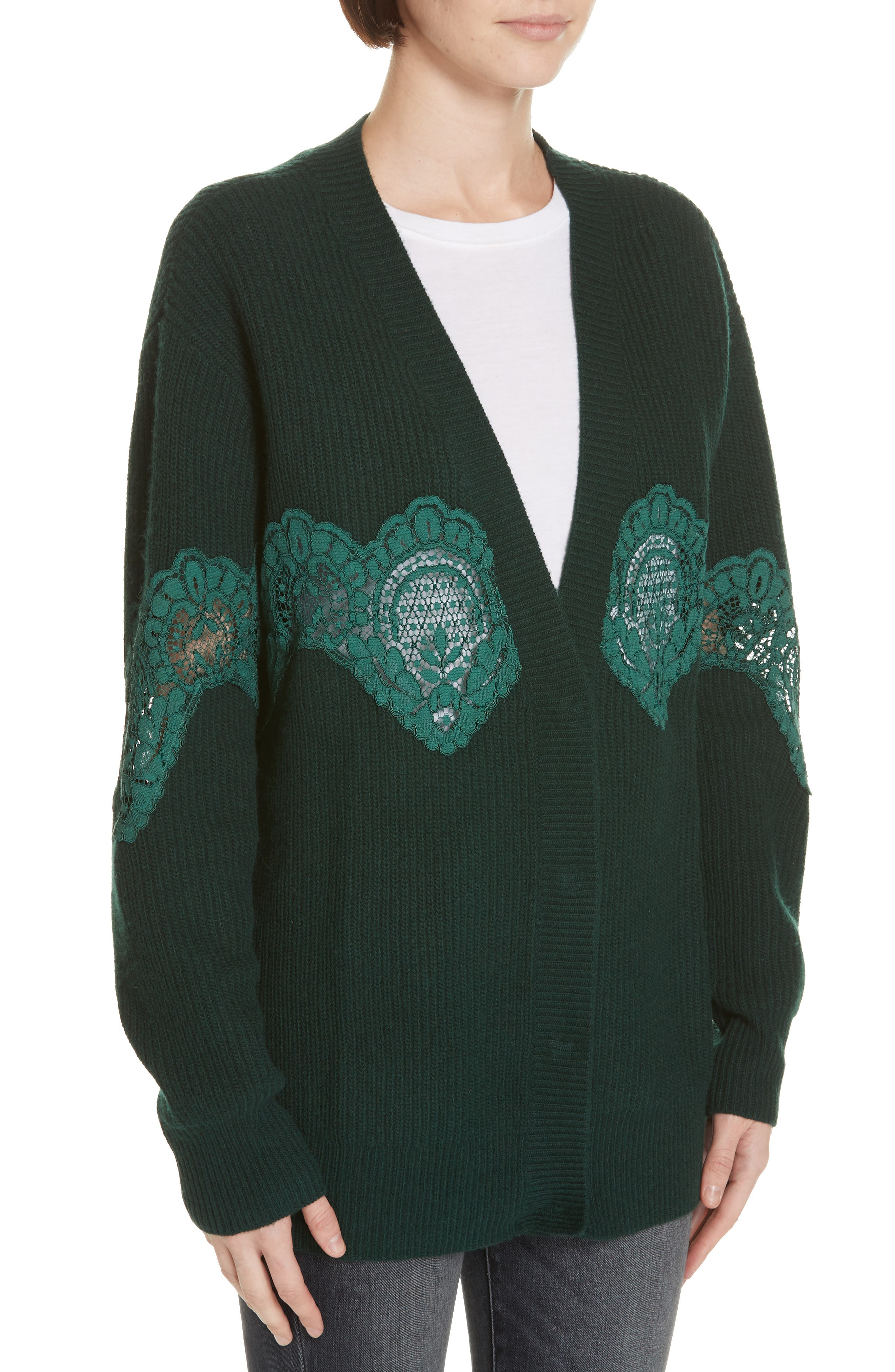Tower Lace Inset Wool Blend Cardigan,                             Alternate thumbnail 4, color,                             BOTTLE GREEN