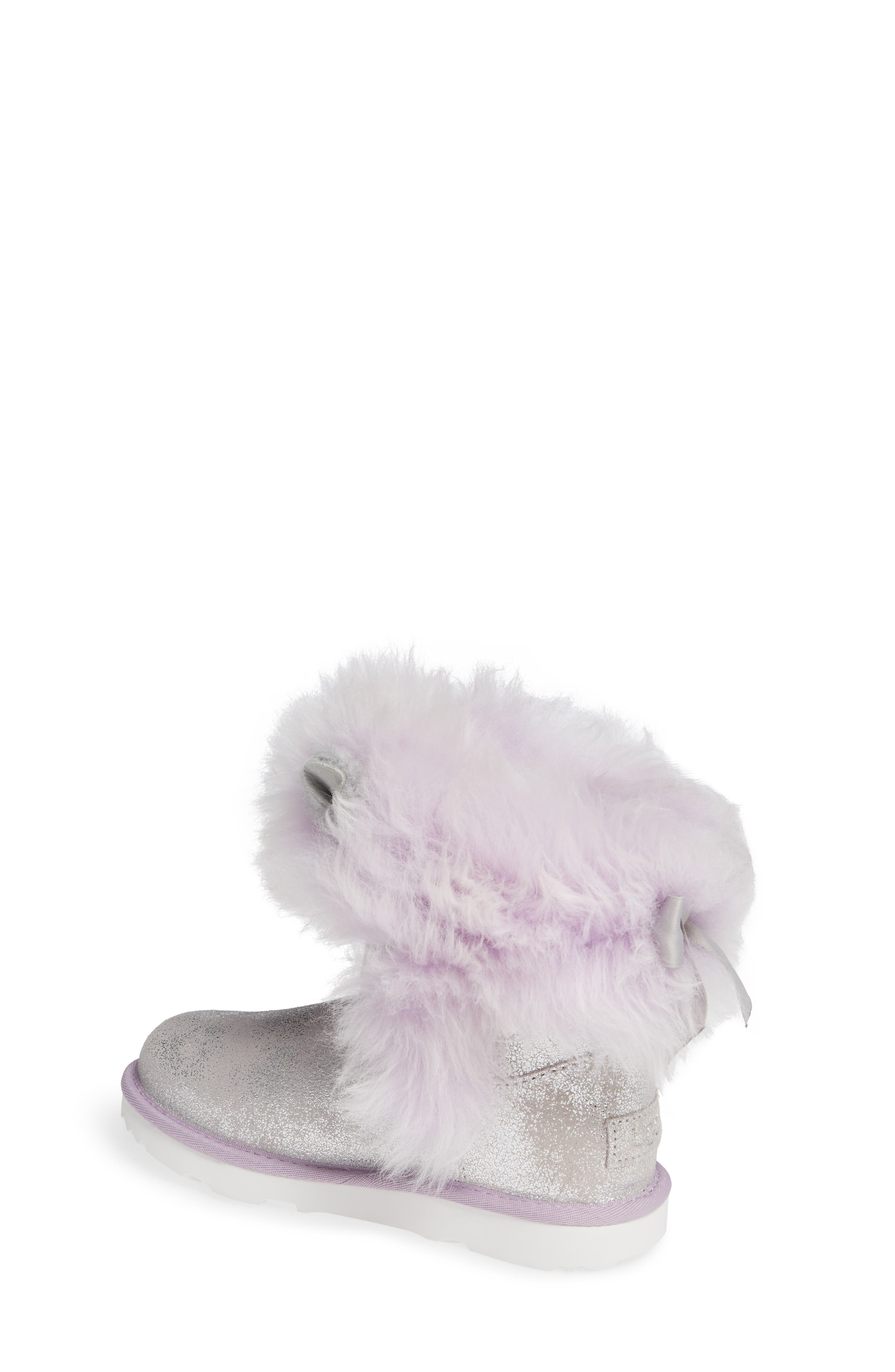 Maizey Classic Genuine Shearling Glitter Boot,                             Alternate thumbnail 2, color,                             SILVER / LAVENDER