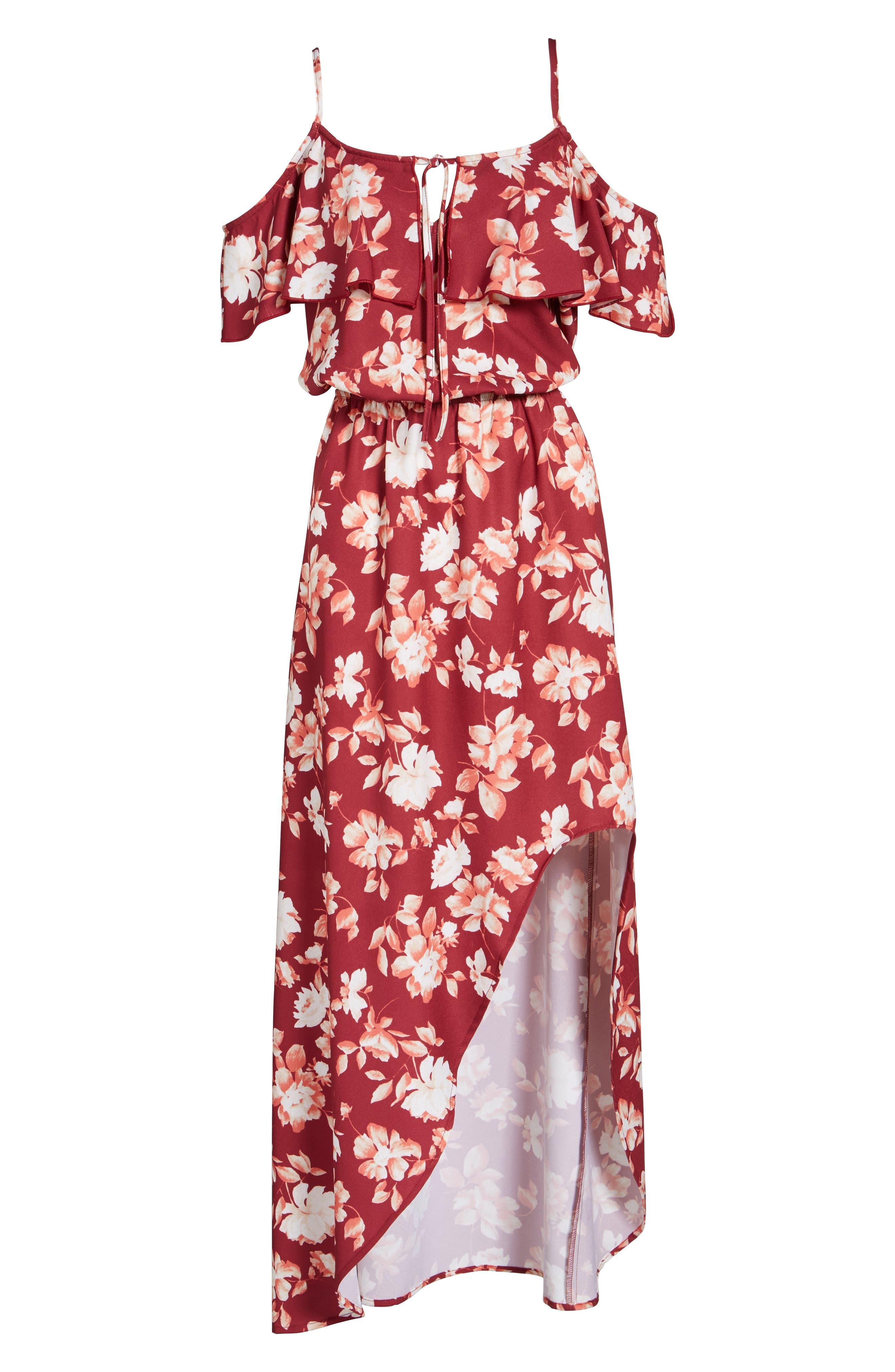 Cold Shoulder Asymmetrical Maxi Dress,                             Alternate thumbnail 12, color,