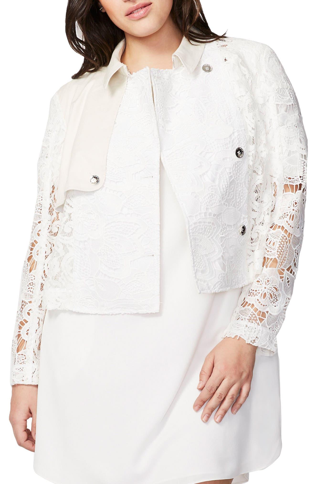 Rachel Roy Crop Lace Trench Jacket,                             Main thumbnail 1, color,                             100