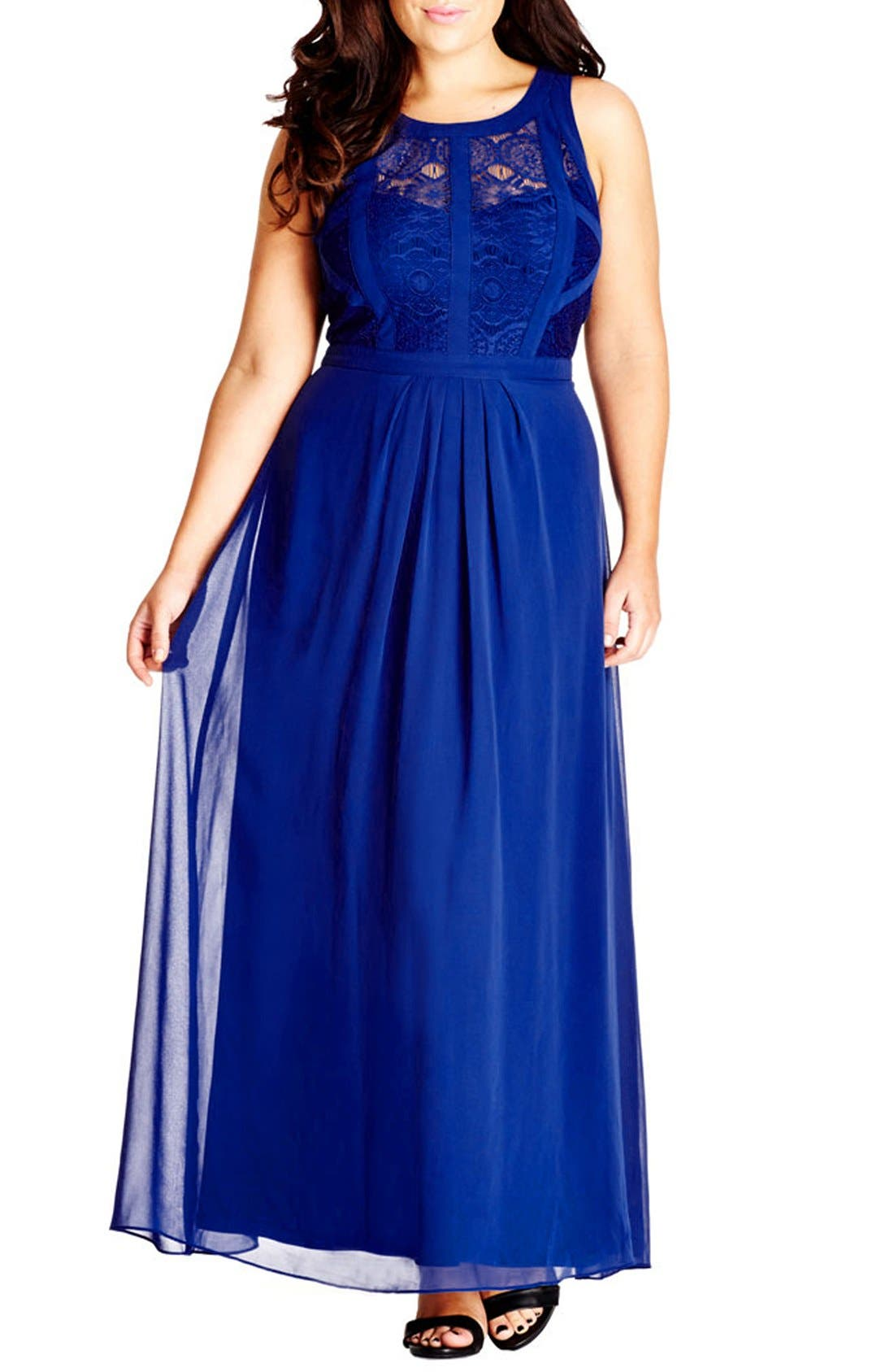 Paneled Lace Bodice Gown,                             Main thumbnail 4, color,