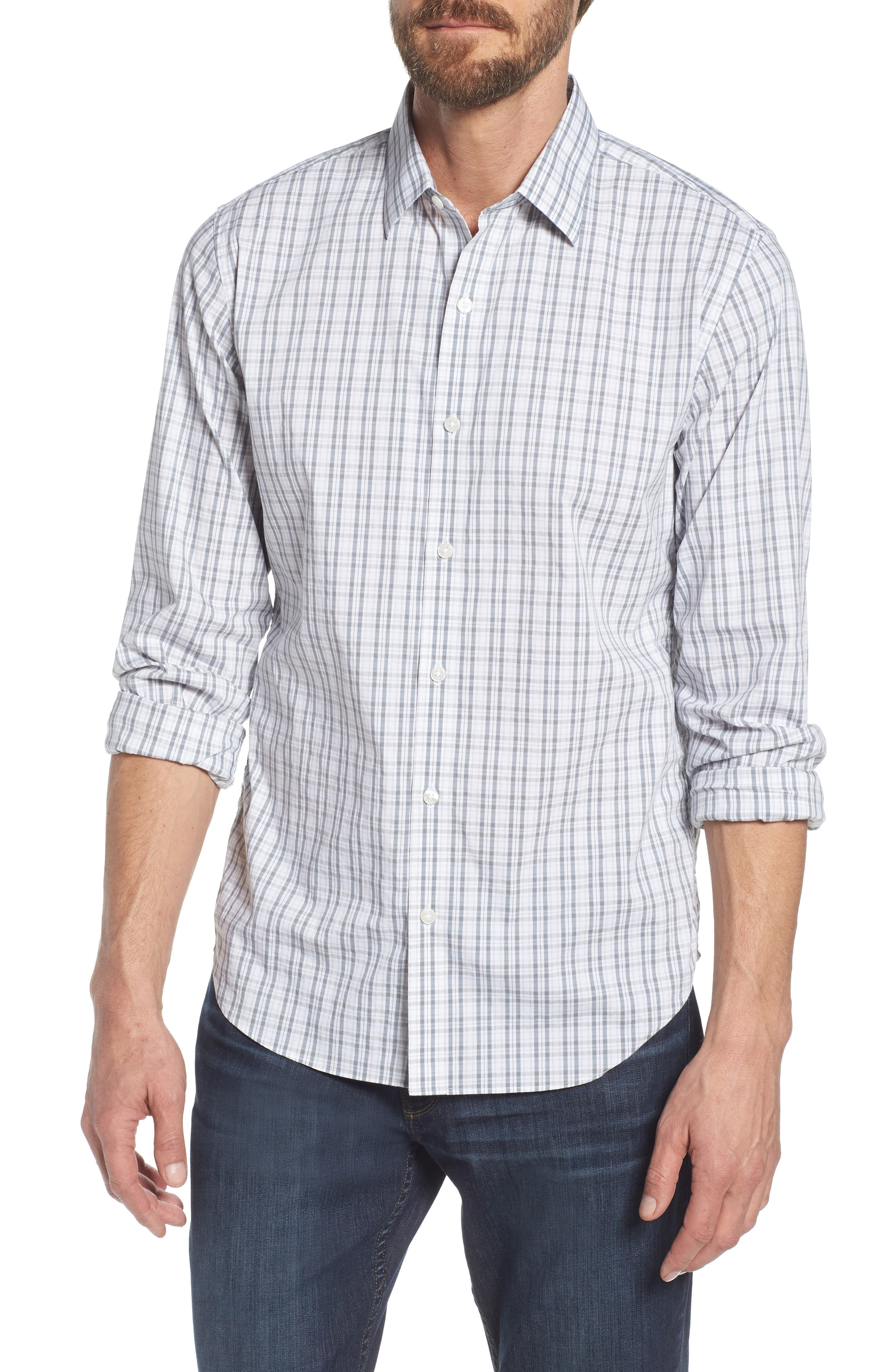 Unbutton Down Slim Fit Plaid Sport Shirt,                         Main,                         color, 100