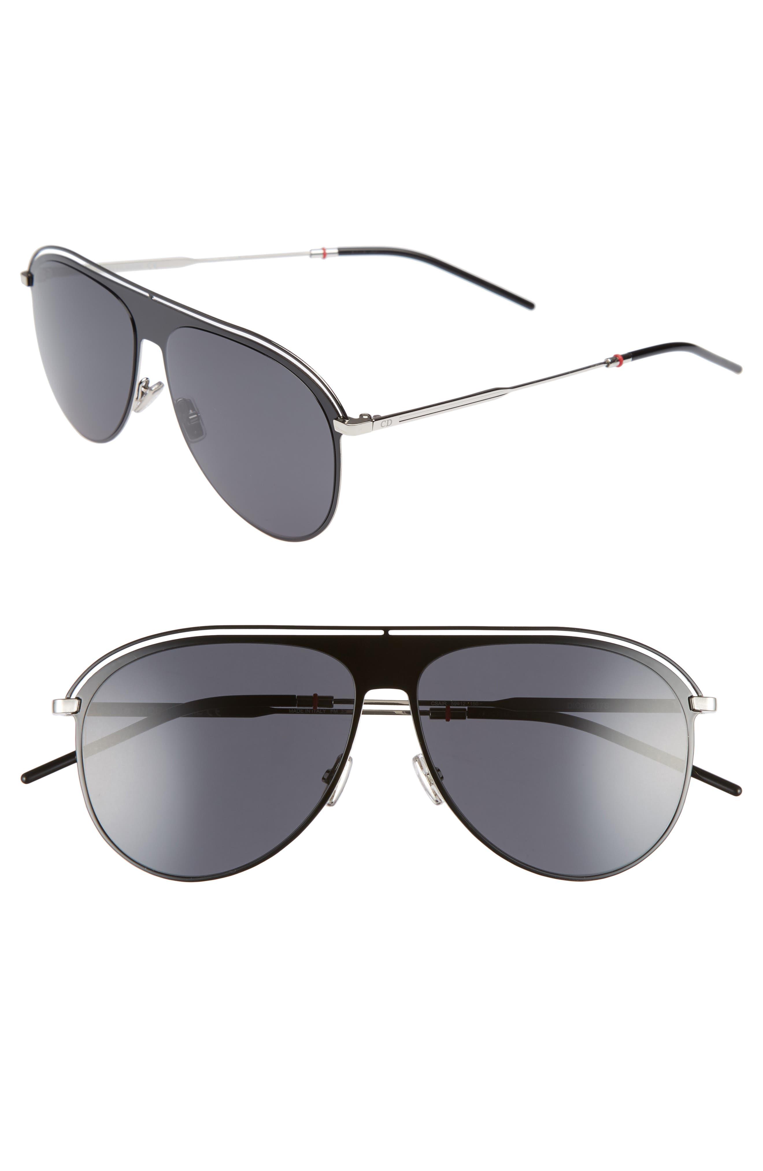 59mm Polarized Aviator Sunglasses,                         Main,                         color, BLACK PALLADIUM