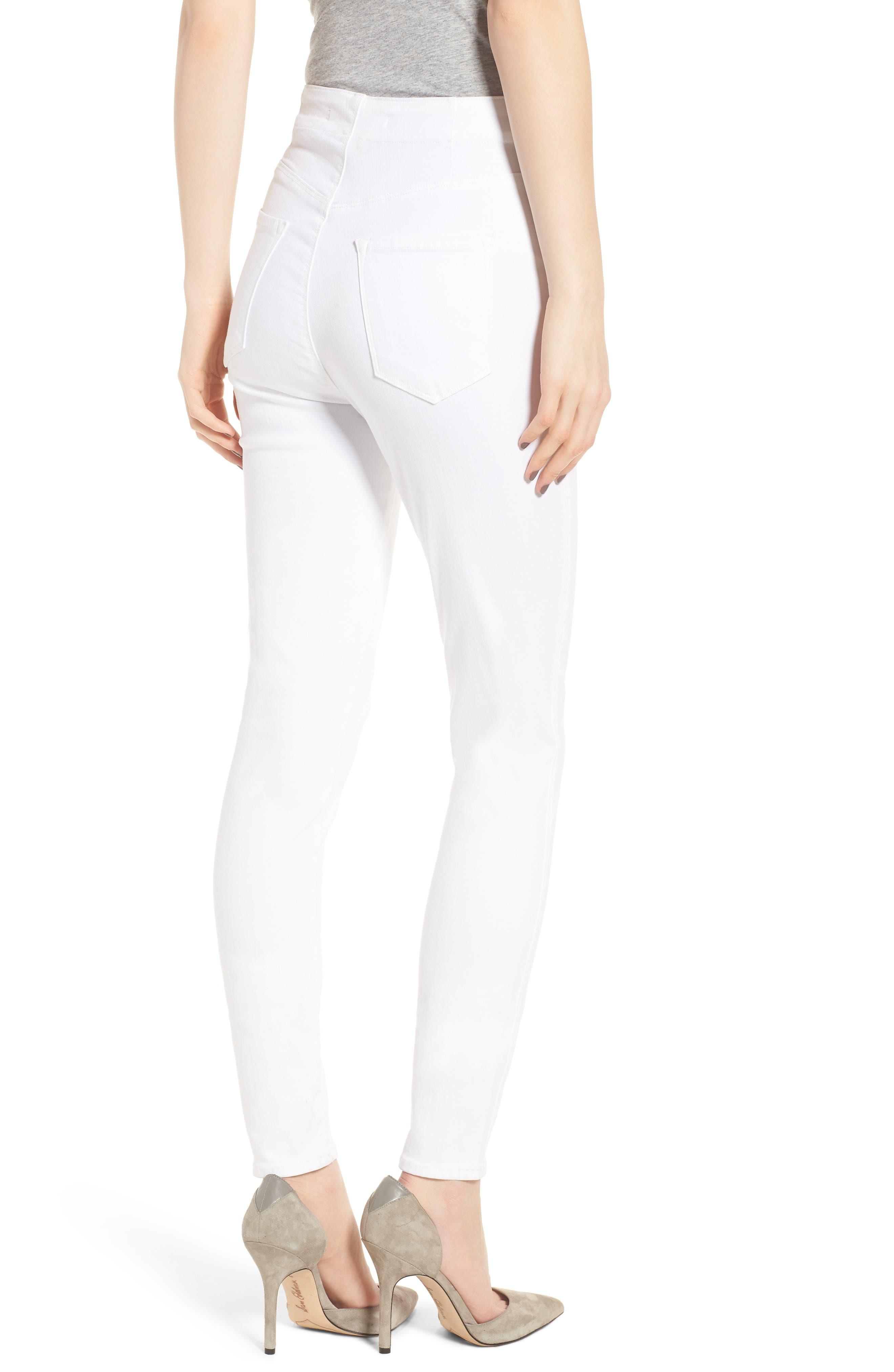 Natasha Sky High Super Skinny Jeans,                             Alternate thumbnail 2, color,                             WHITE