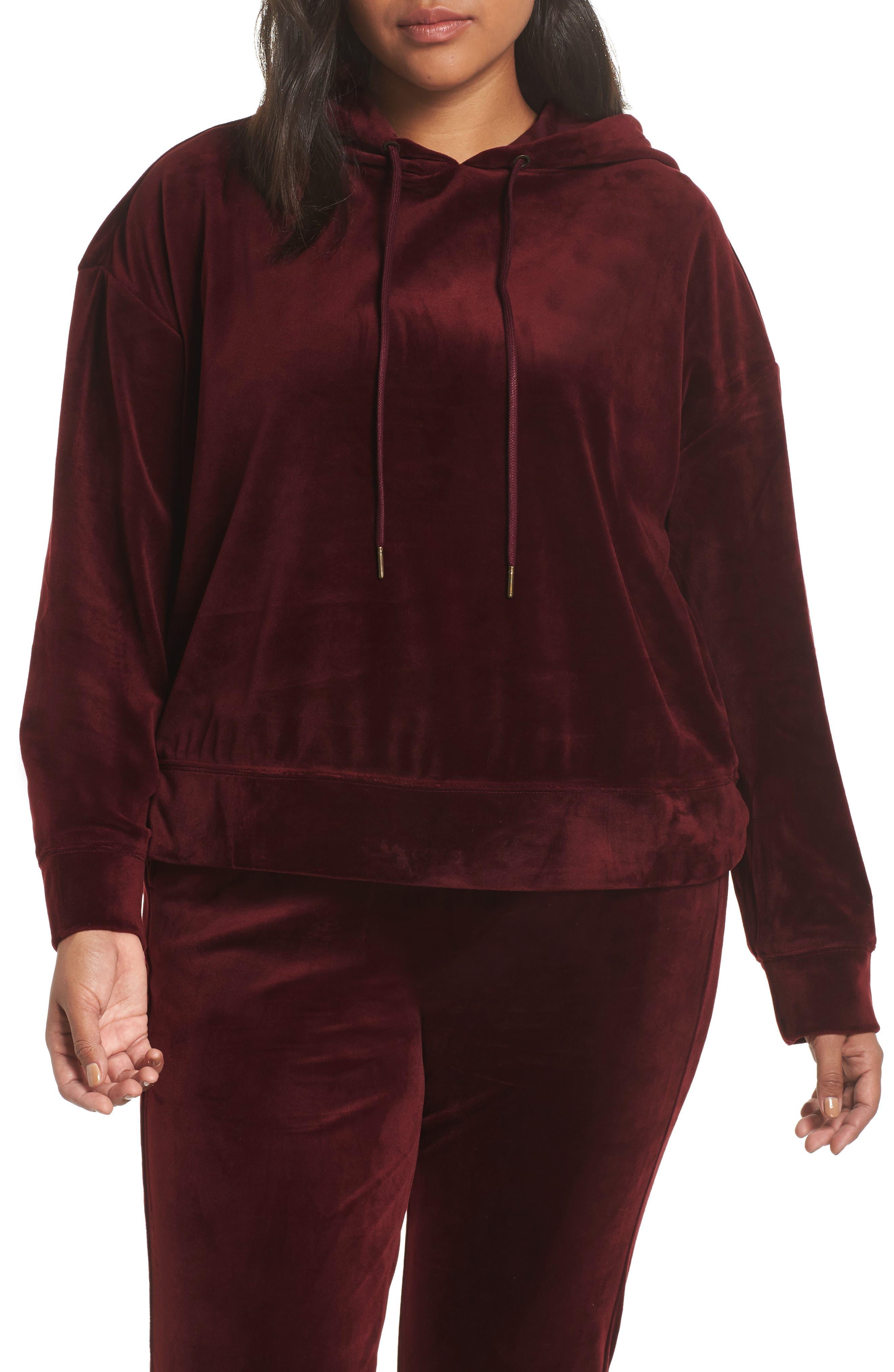 Melrose Brigade Velour Hoodie Sweater,                             Alternate thumbnail 2, color,                             SCARLET