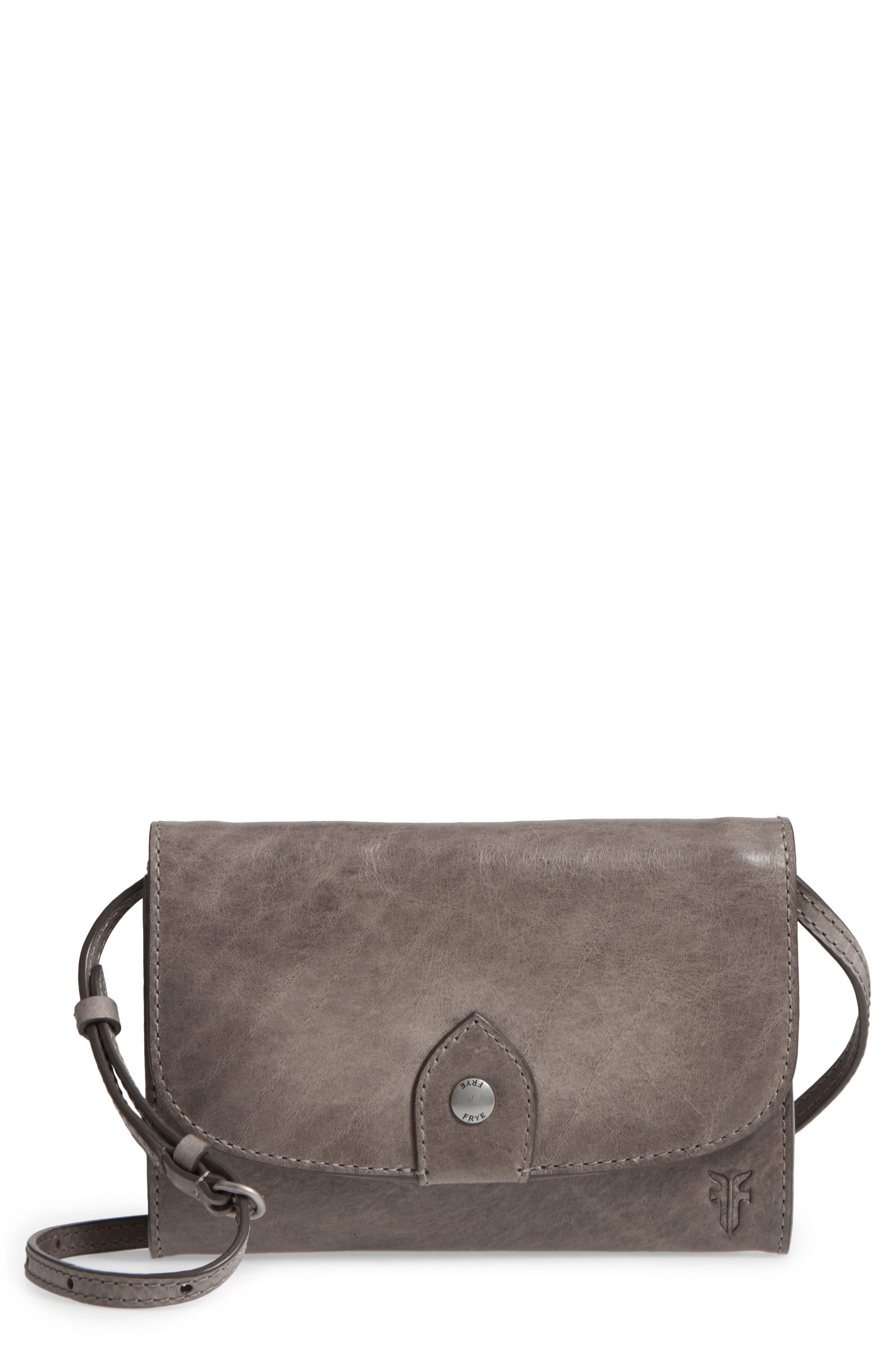 Melissa Leather Crossbody Bag, Main, color, ICE